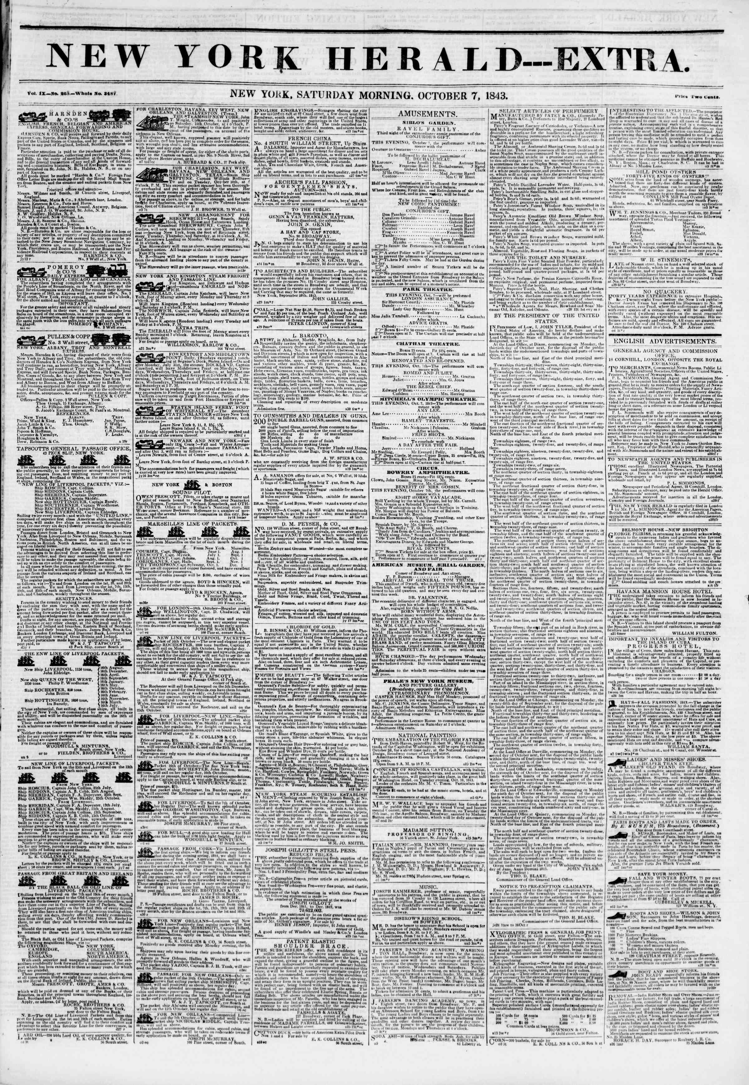 October 7, 1843 Tarihli The New York Herald Gazetesi Sayfa 2