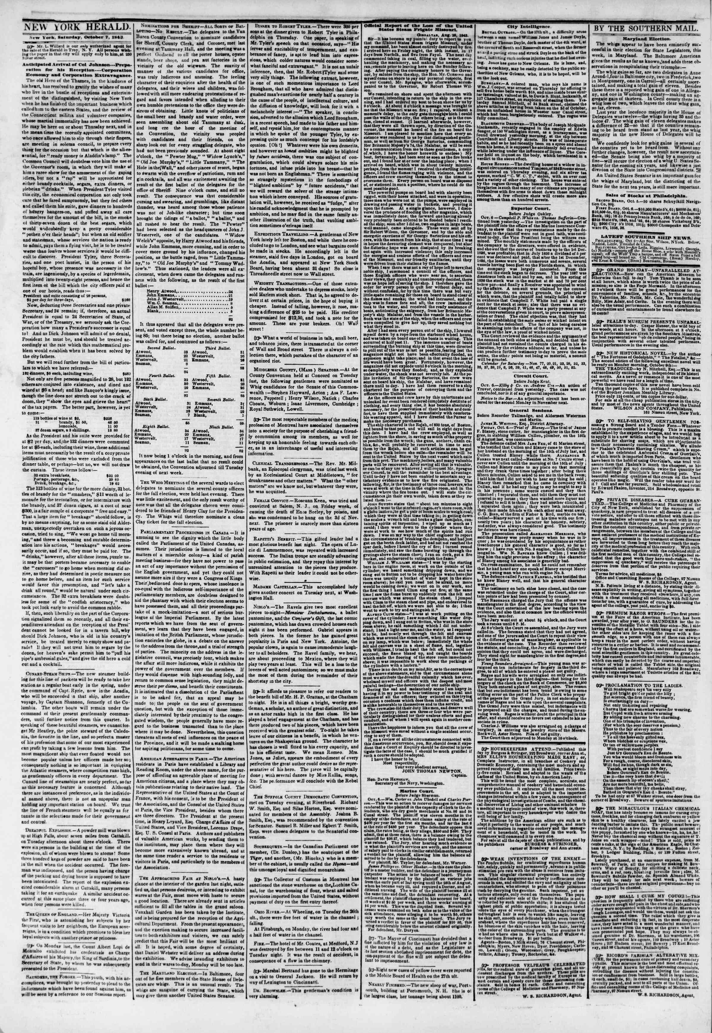 Newspaper of The New York Herald dated October 7, 1843 Page 3