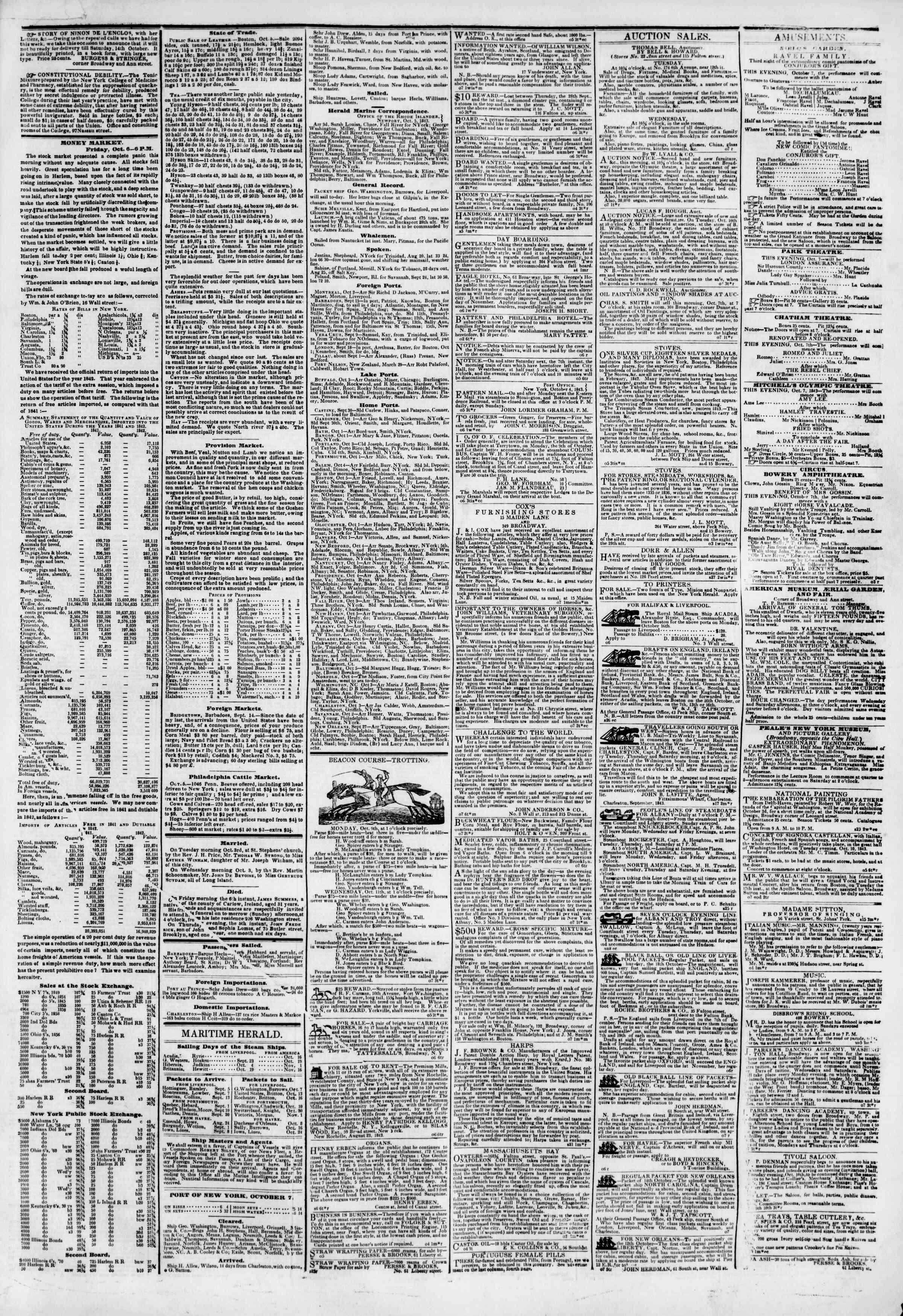 October 7, 1843 Tarihli The New York Herald Gazetesi Sayfa 6