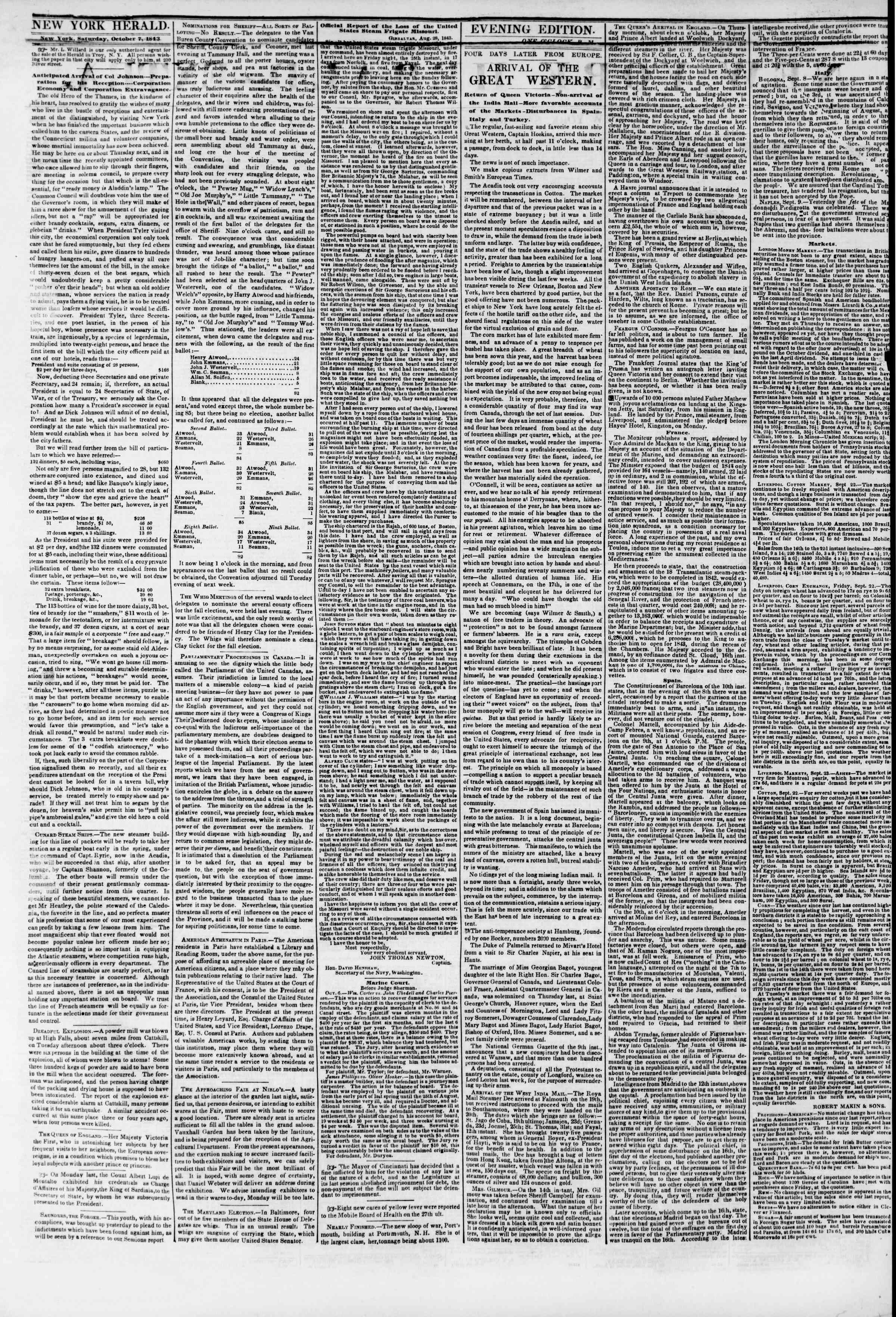October 7, 1843 Tarihli The New York Herald Gazetesi Sayfa 8