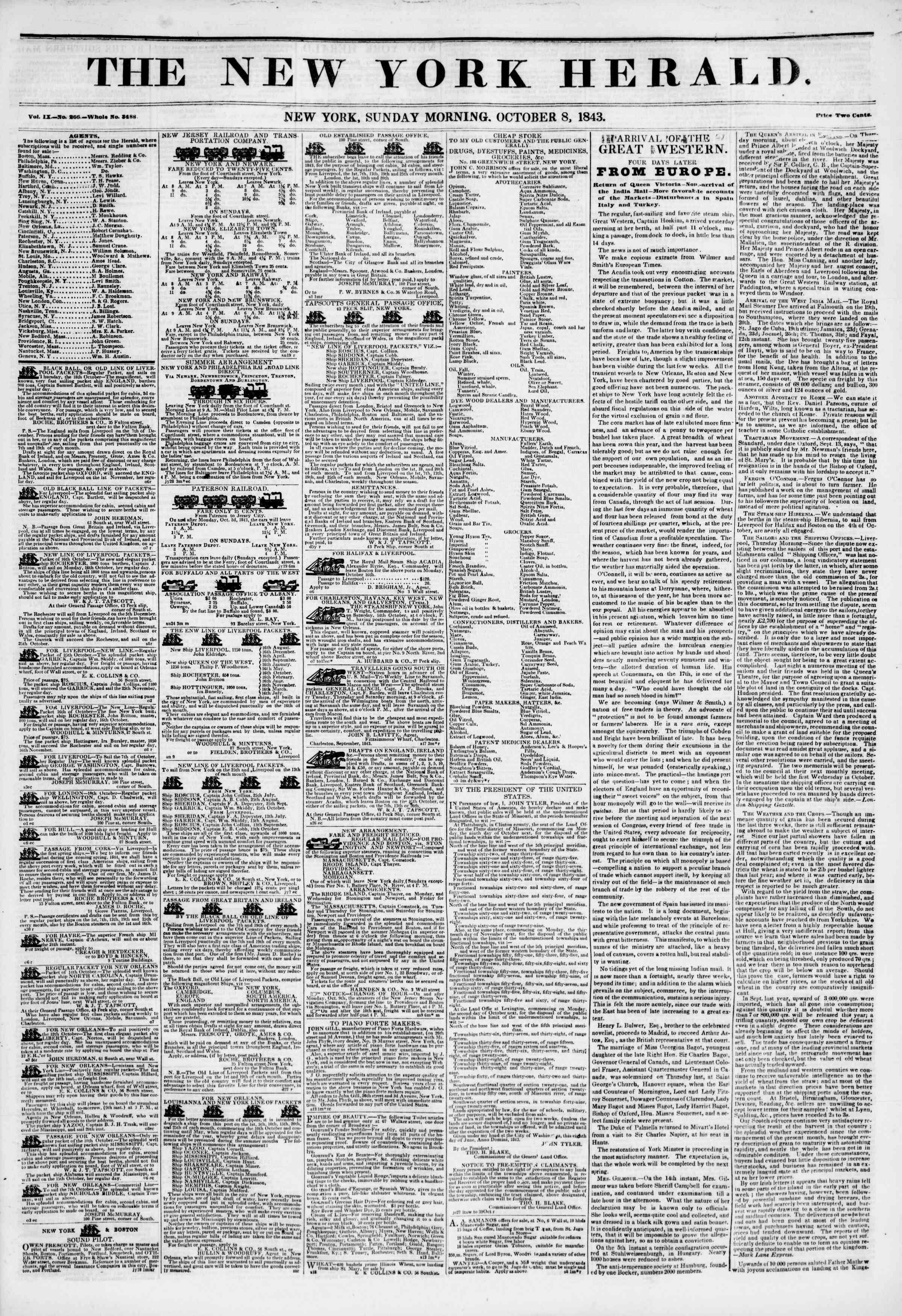October 8, 1843 Tarihli The New York Herald Gazetesi Sayfa 1