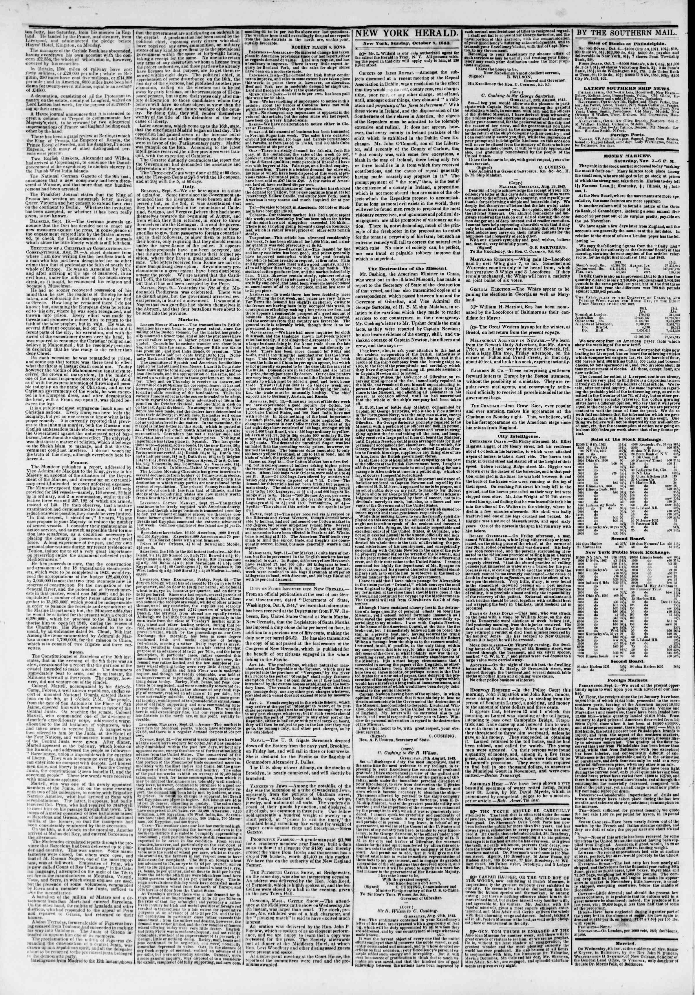 Newspaper of The New York Herald dated October 8, 1843 Page 2