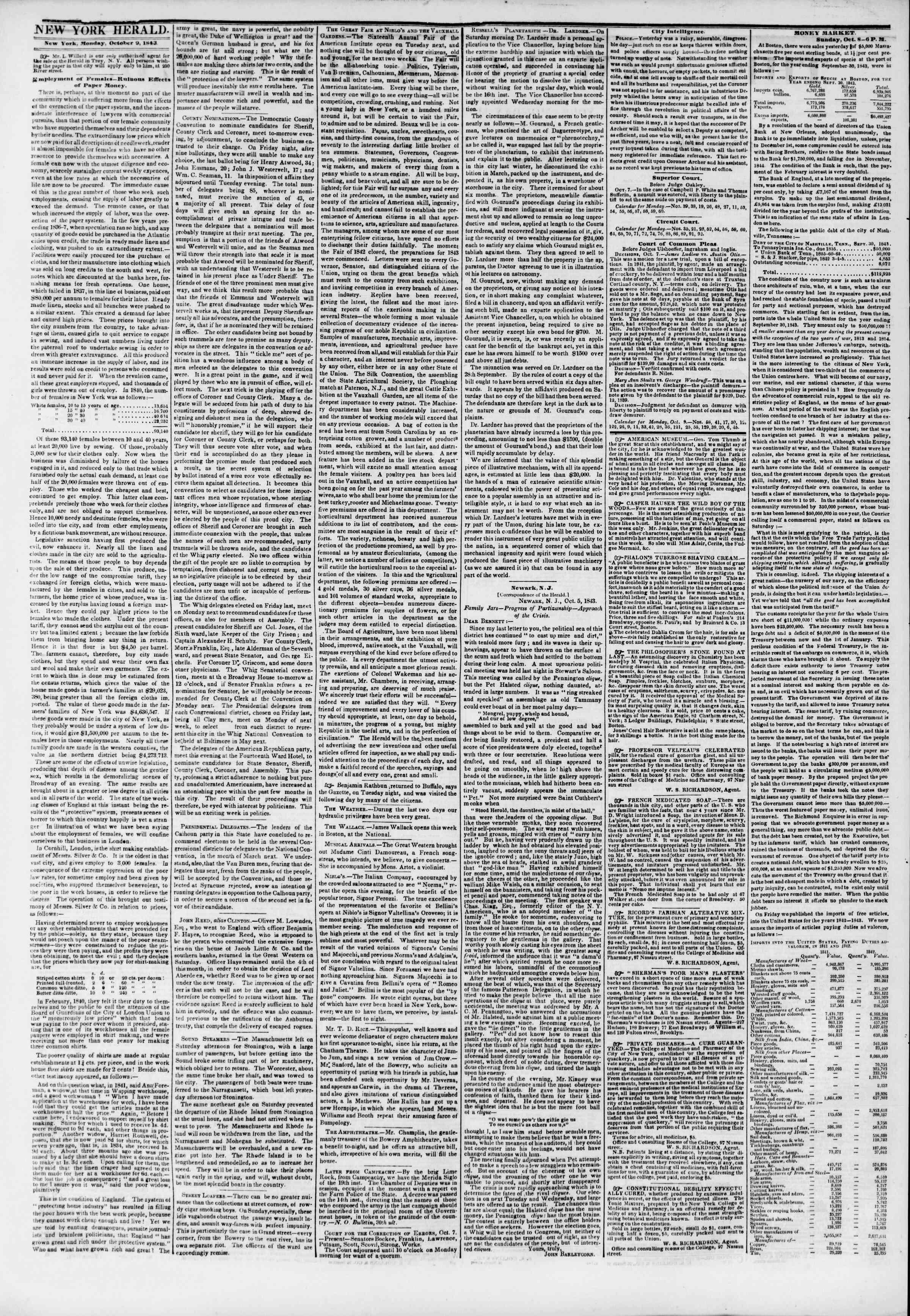 October 9, 1843 Tarihli The New York Herald Gazetesi Sayfa 2