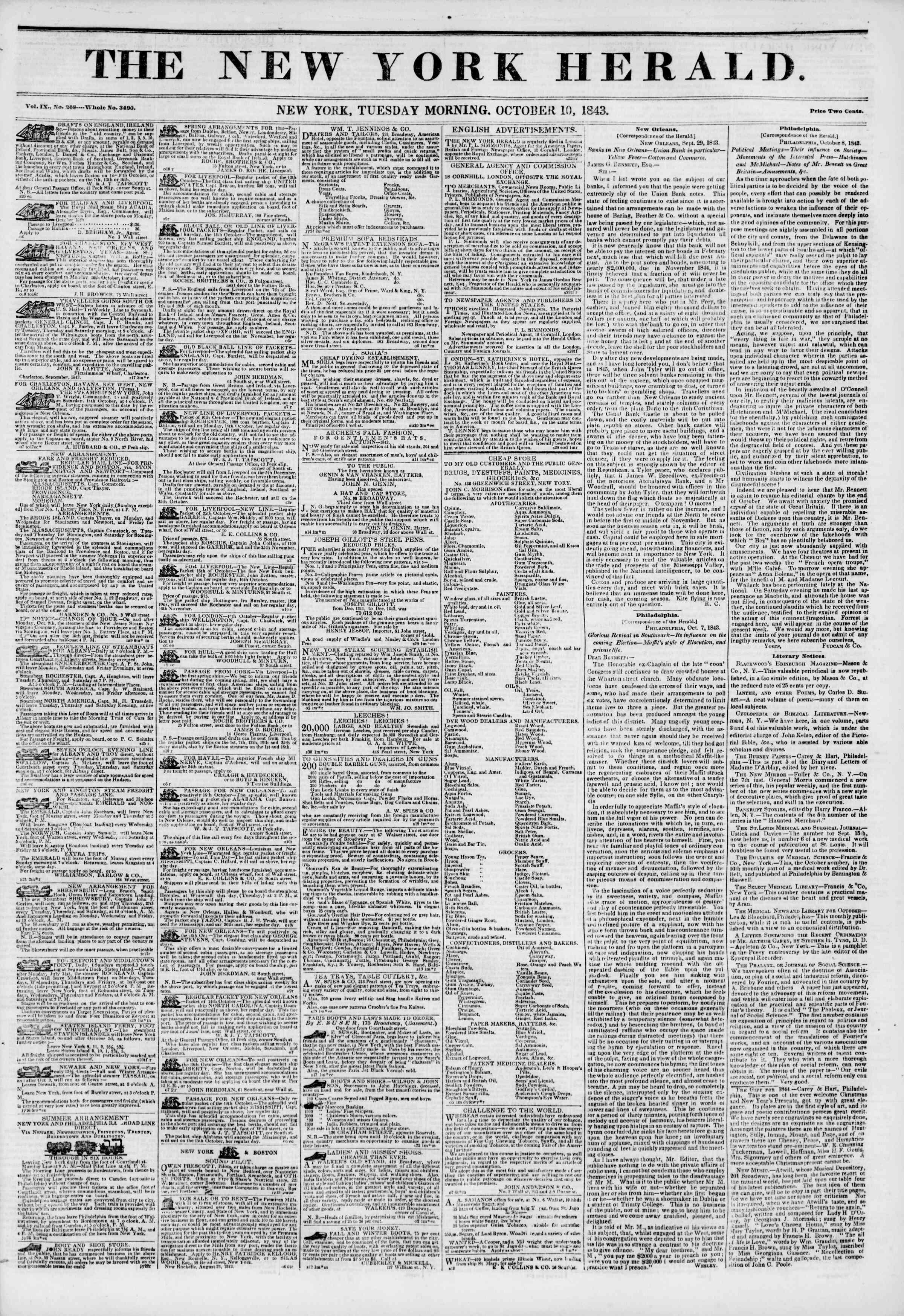 October 10, 1843 Tarihli The New York Herald Gazetesi Sayfa 1