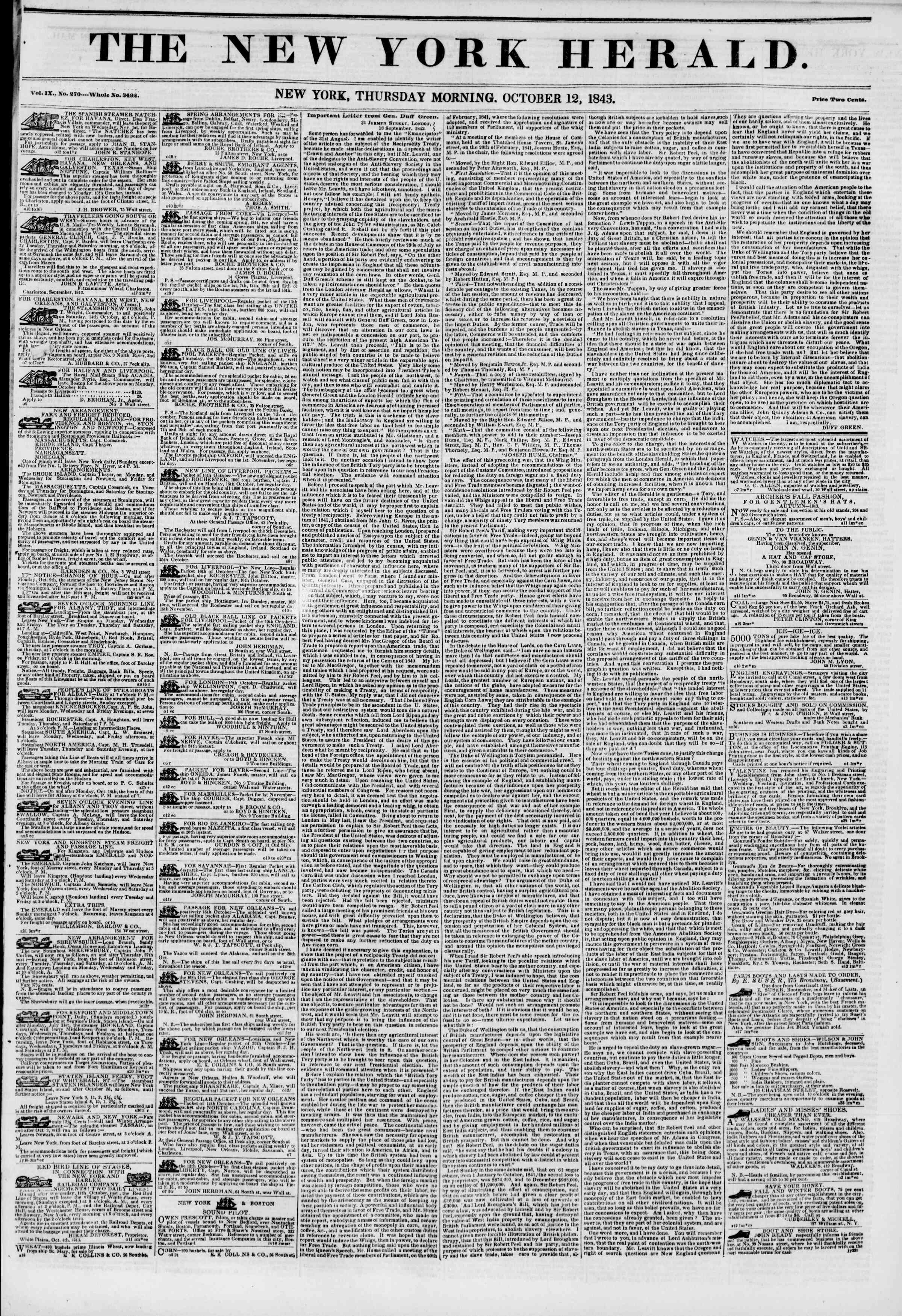 Newspaper of The New York Herald dated 12 Ekim 1843 Page 1