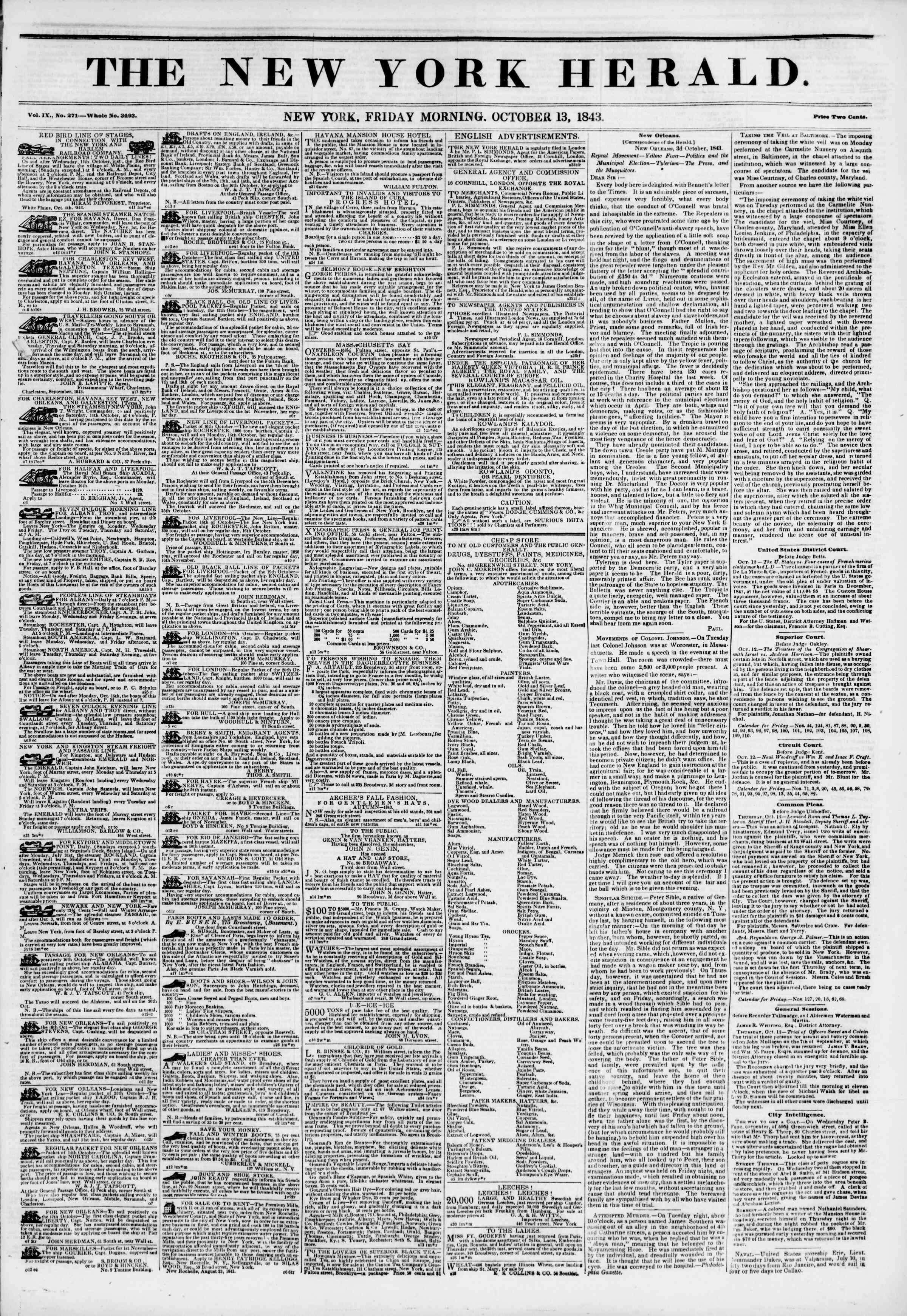 October 13, 1843 Tarihli The New York Herald Gazetesi Sayfa 1