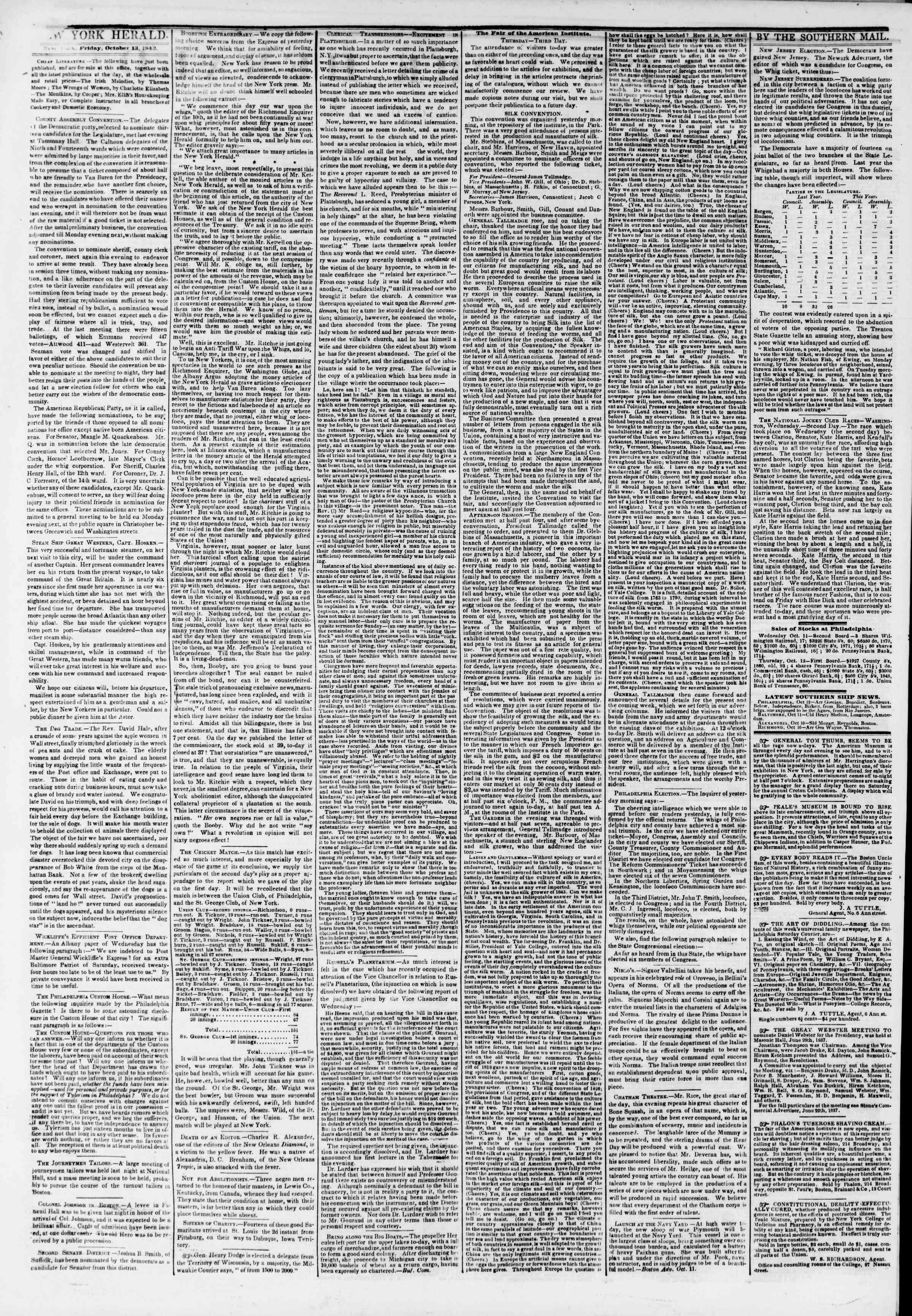 October 13, 1843 Tarihli The New York Herald Gazetesi Sayfa 2
