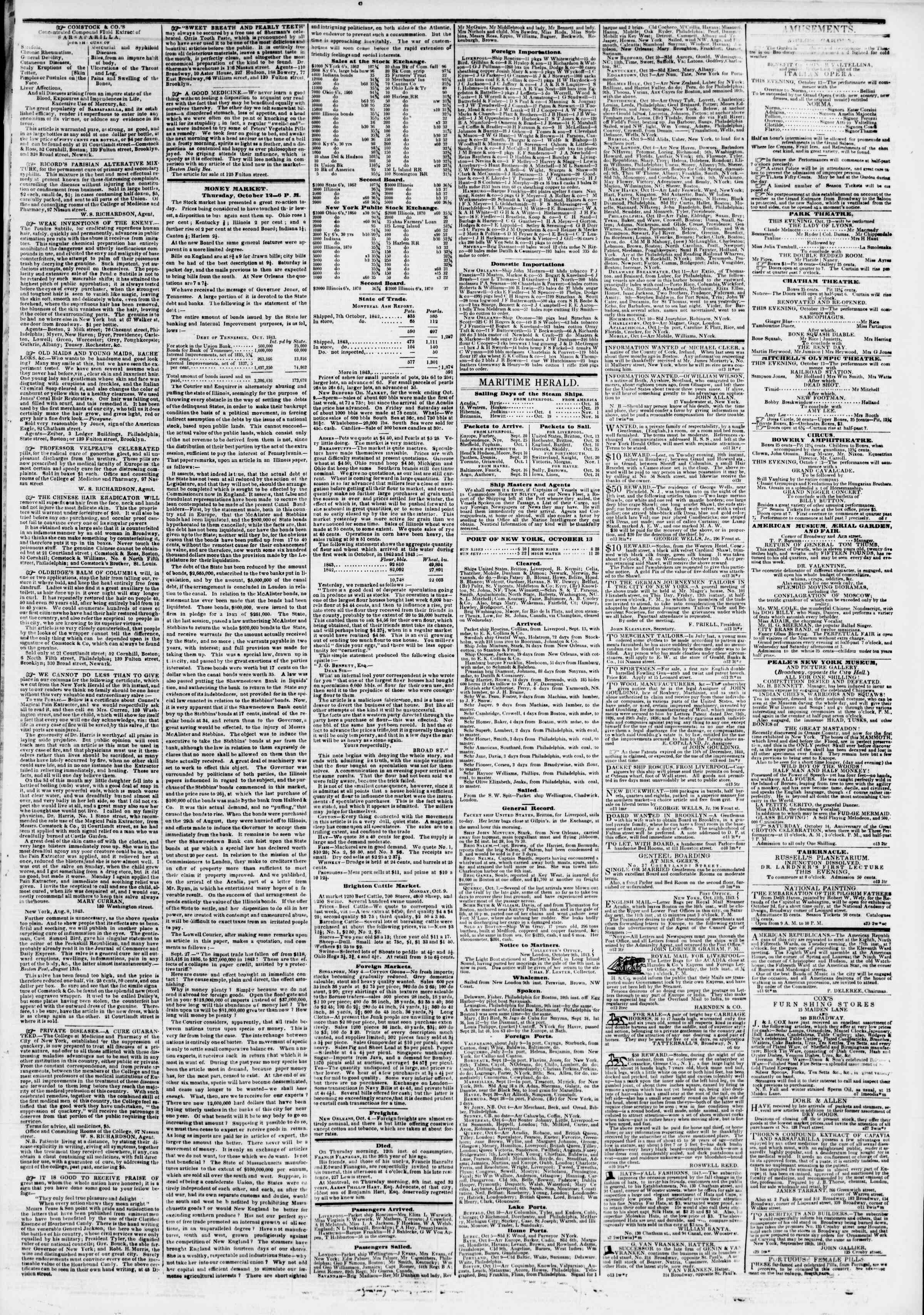 Newspaper of The New York Herald dated October 13, 1843 Page 3