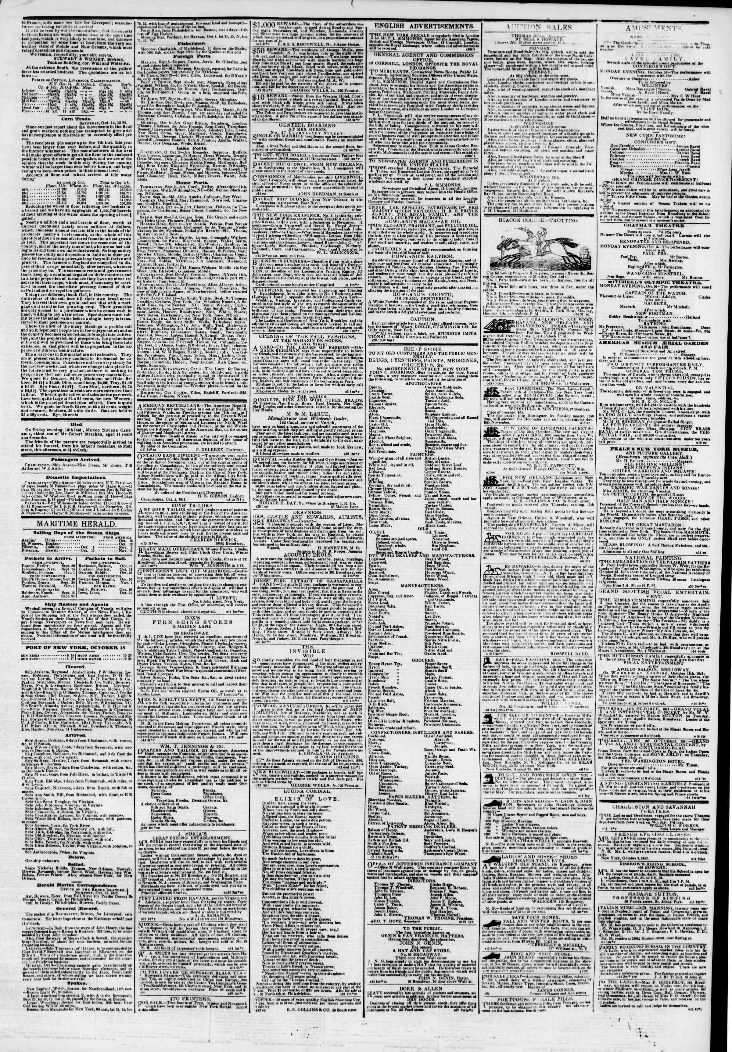 Newspaper of The New York Herald dated October 15, 1843 Page 3