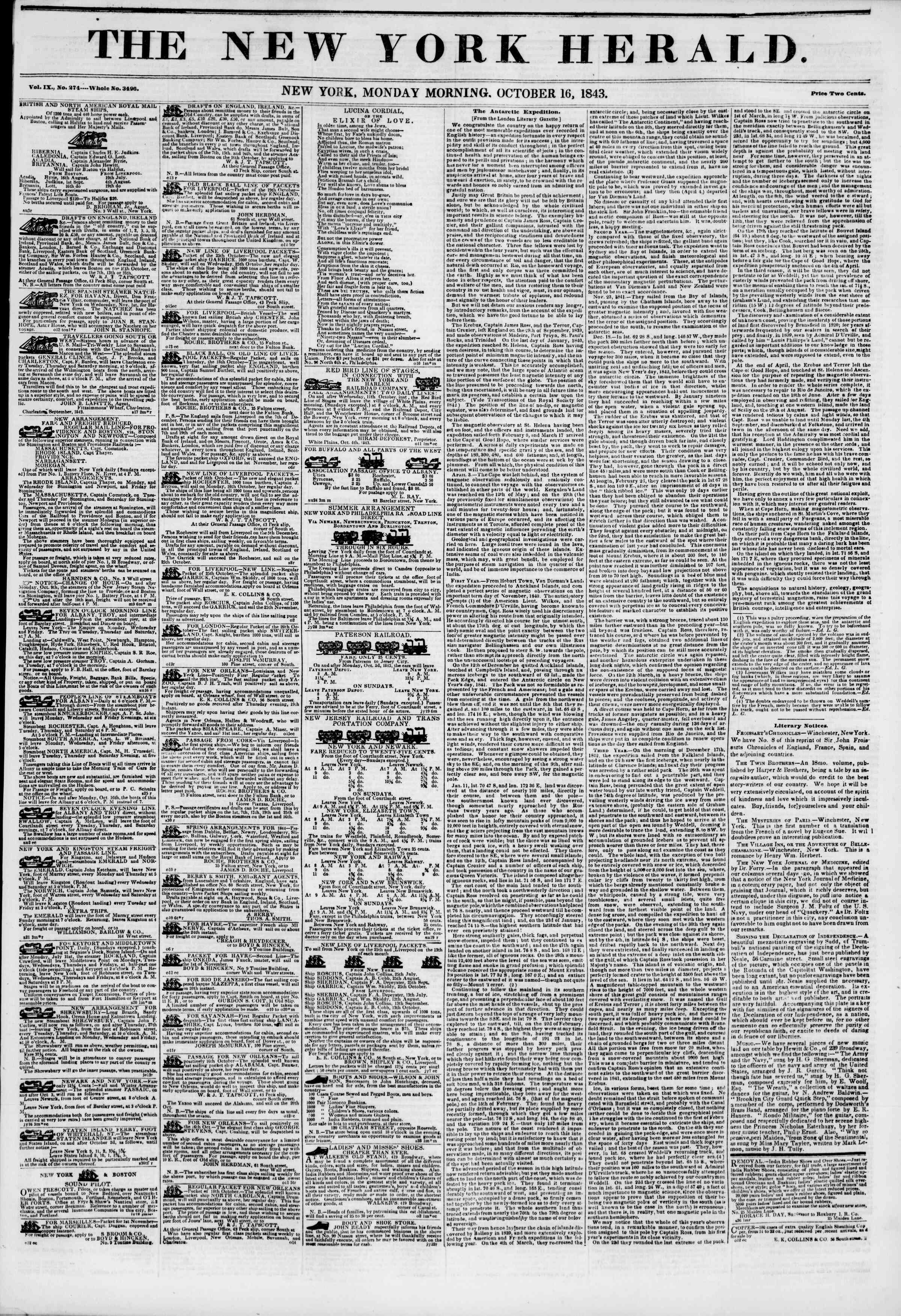 Newspaper of The New York Herald dated October 16, 1843 Page 1