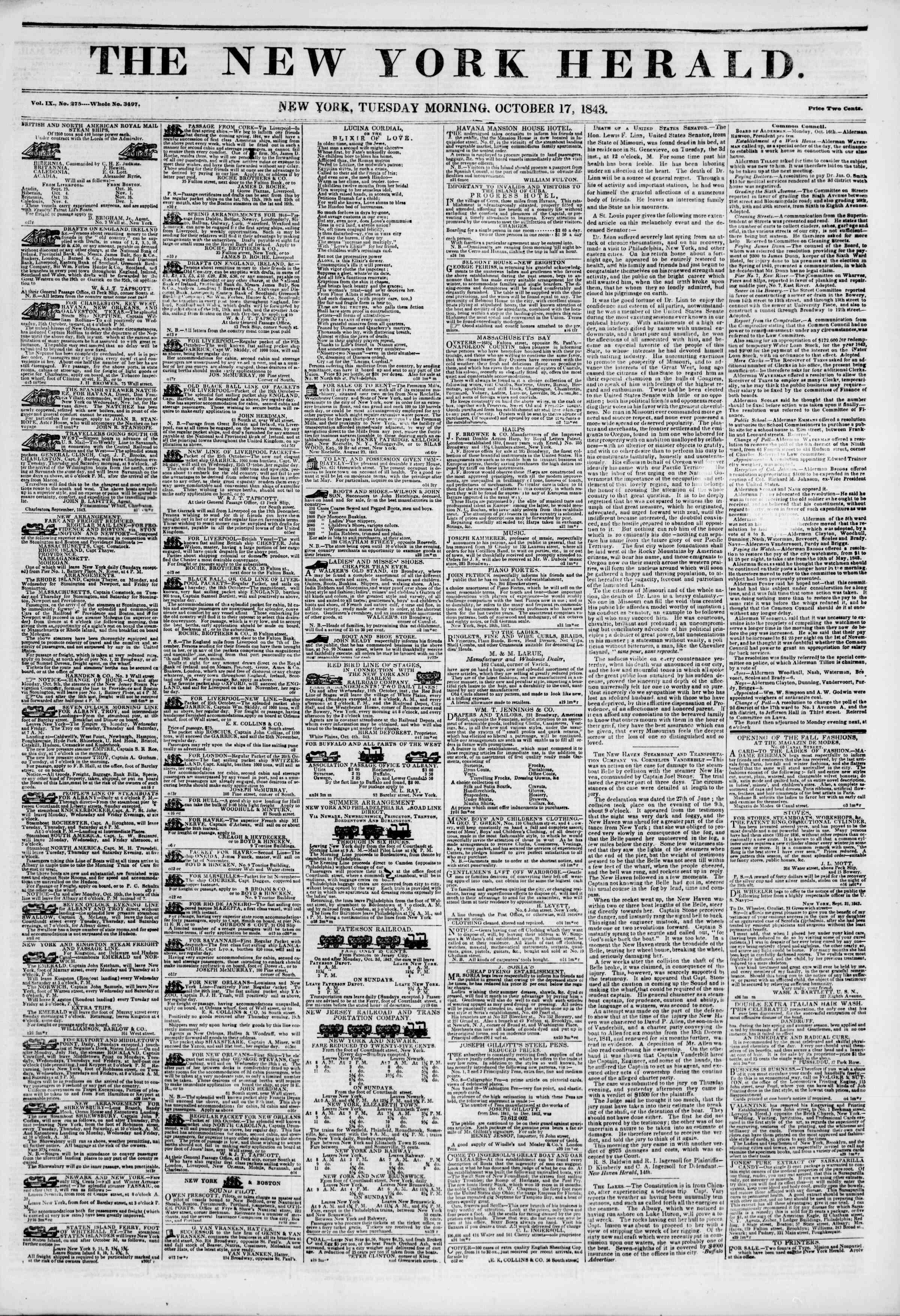 October 17, 1843 Tarihli The New York Herald Gazetesi Sayfa 1