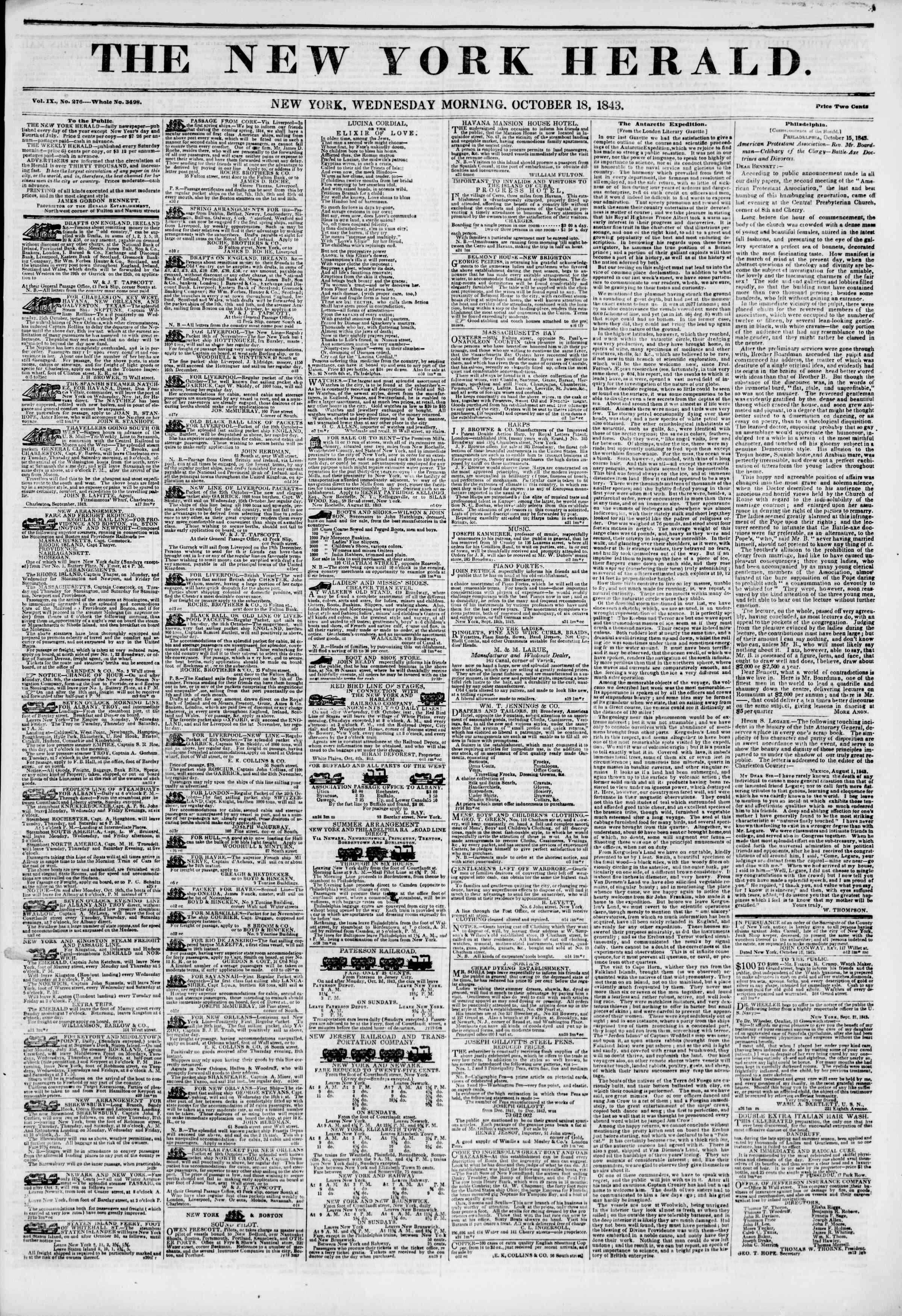 October 18, 1843 Tarihli The New York Herald Gazetesi Sayfa 1