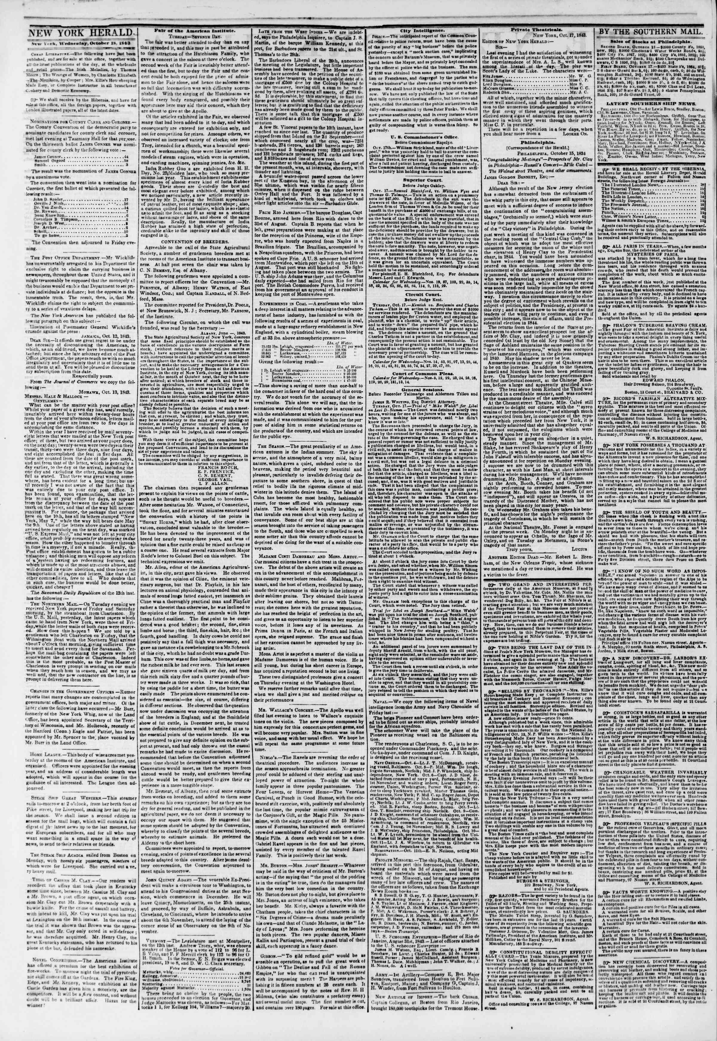 Newspaper of The New York Herald dated October 18, 1843 Page 2