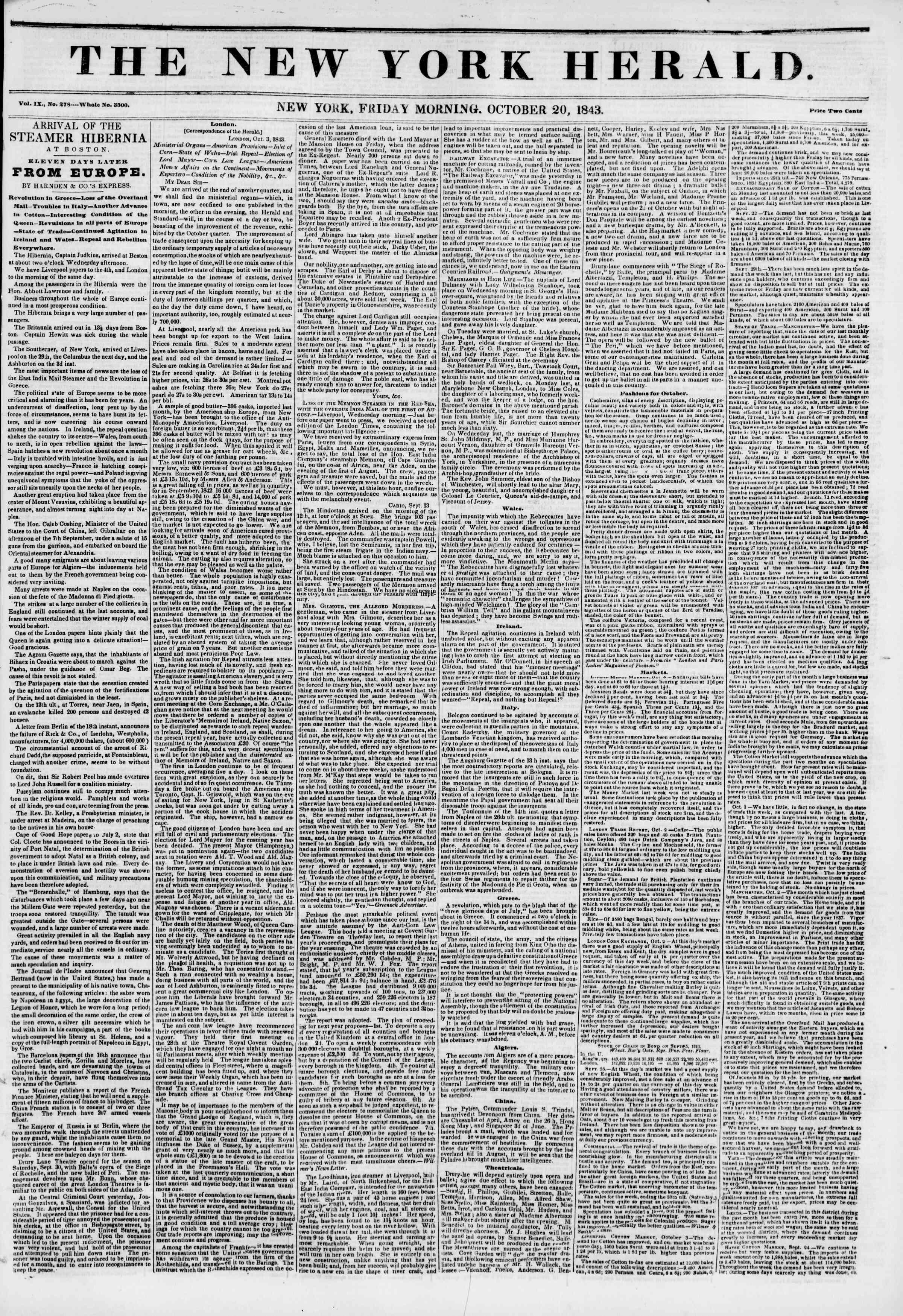October 20, 1843 Tarihli The New York Herald Gazetesi Sayfa 1