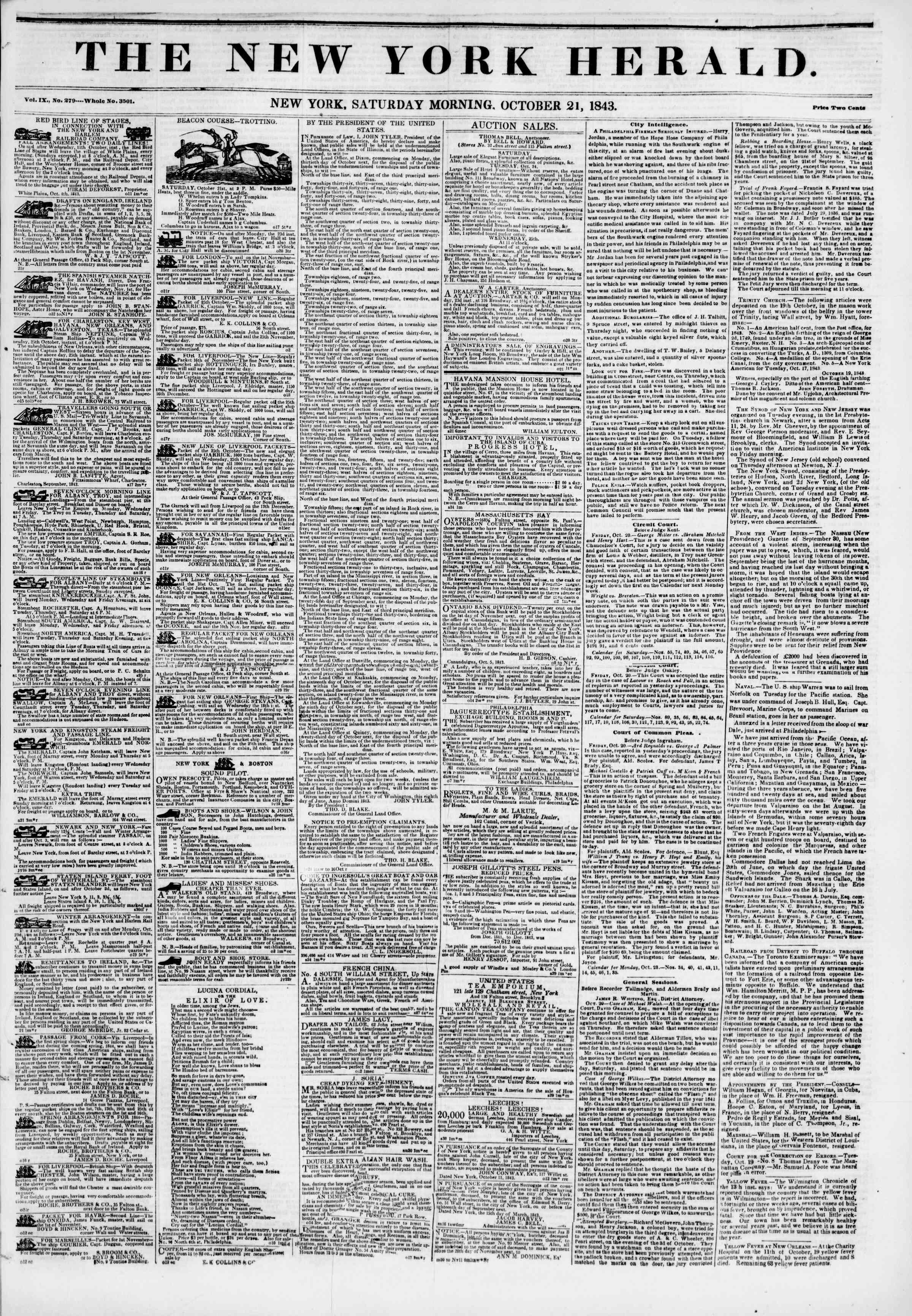 October 21, 1843 Tarihli The New York Herald Gazetesi Sayfa 1
