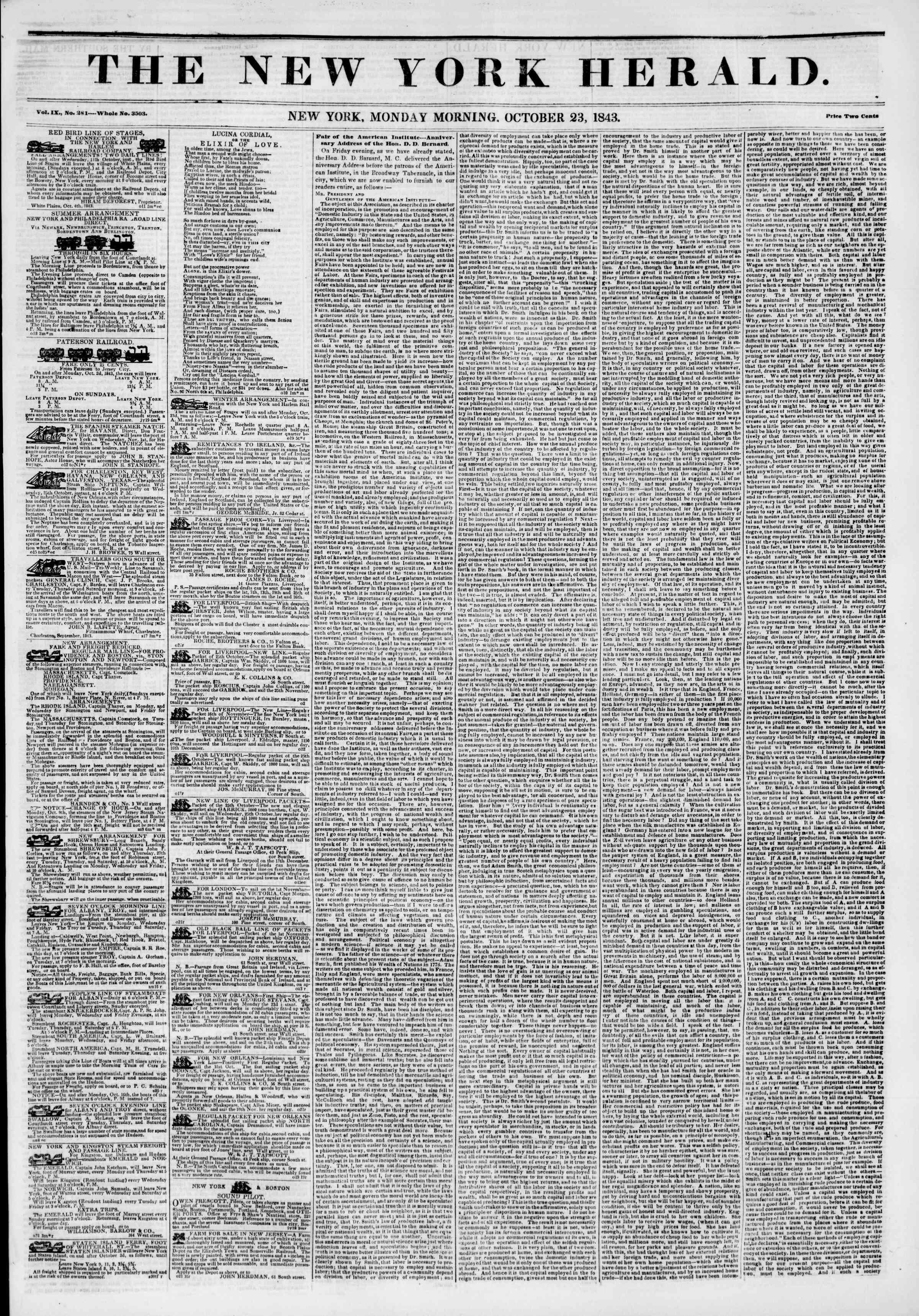 October 23, 1843 Tarihli The New York Herald Gazetesi Sayfa 1