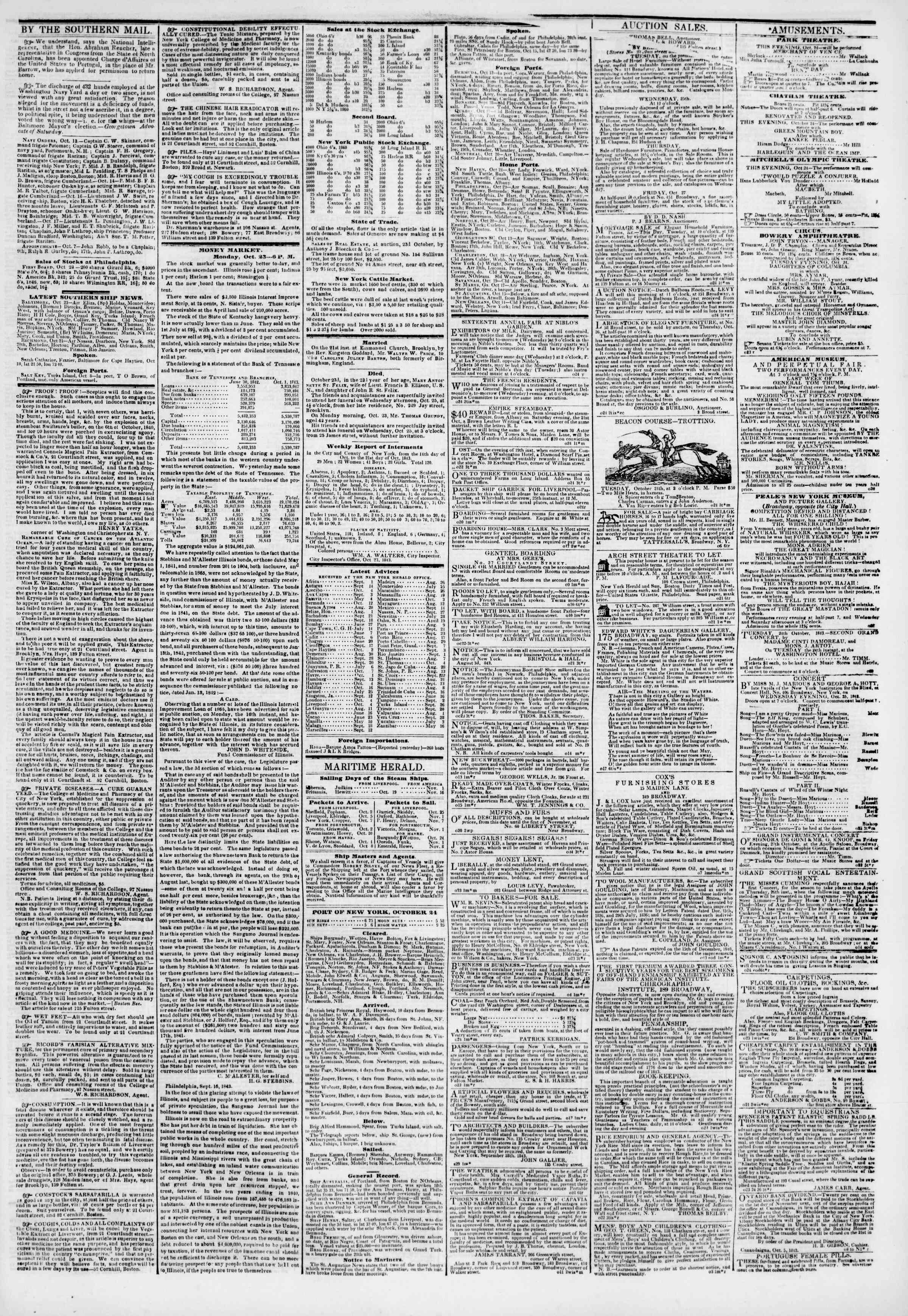 Newspaper of The New York Herald dated October 24, 1843 Page 3