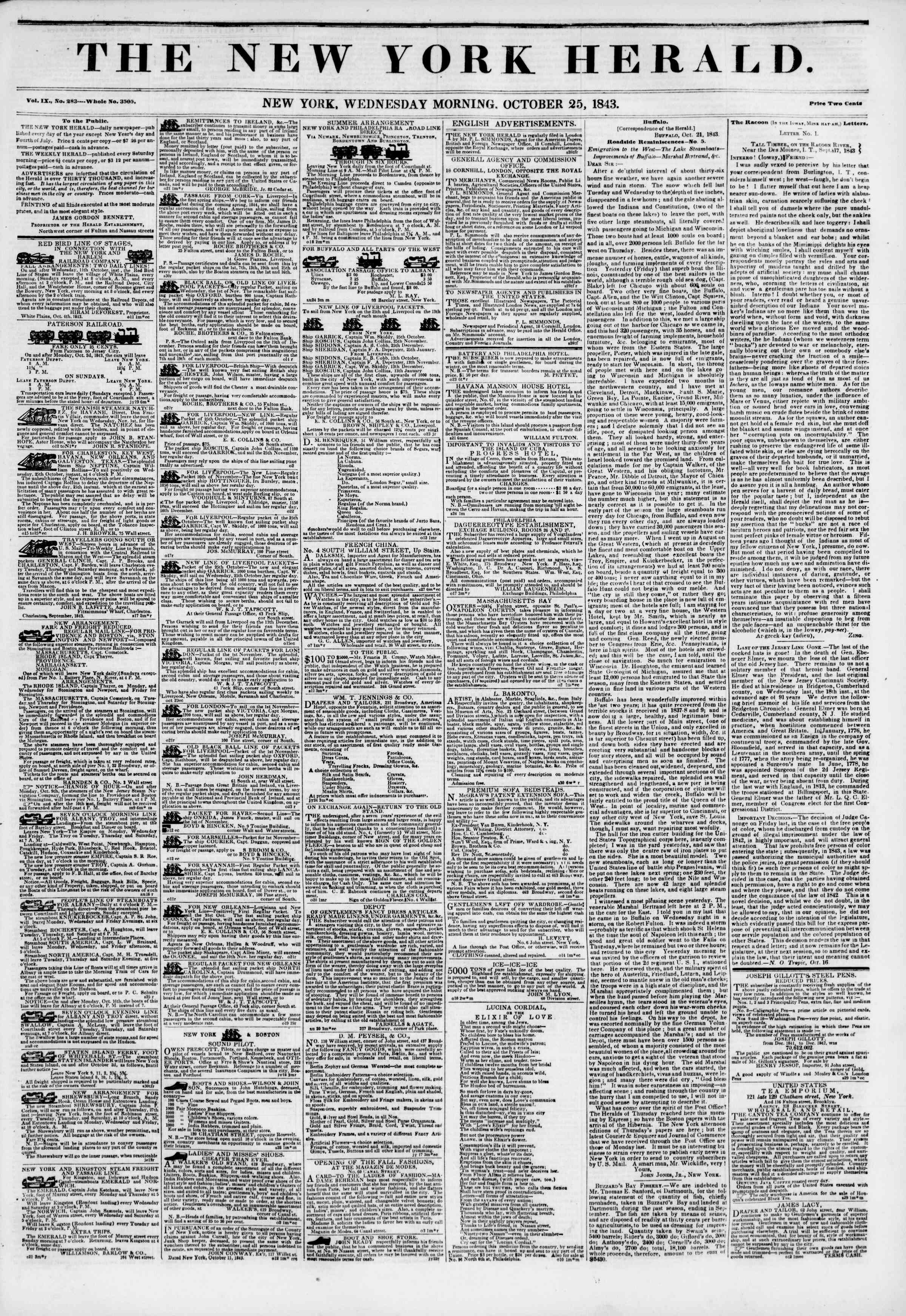 Newspaper of The New York Herald dated October 25, 1843 Page 1