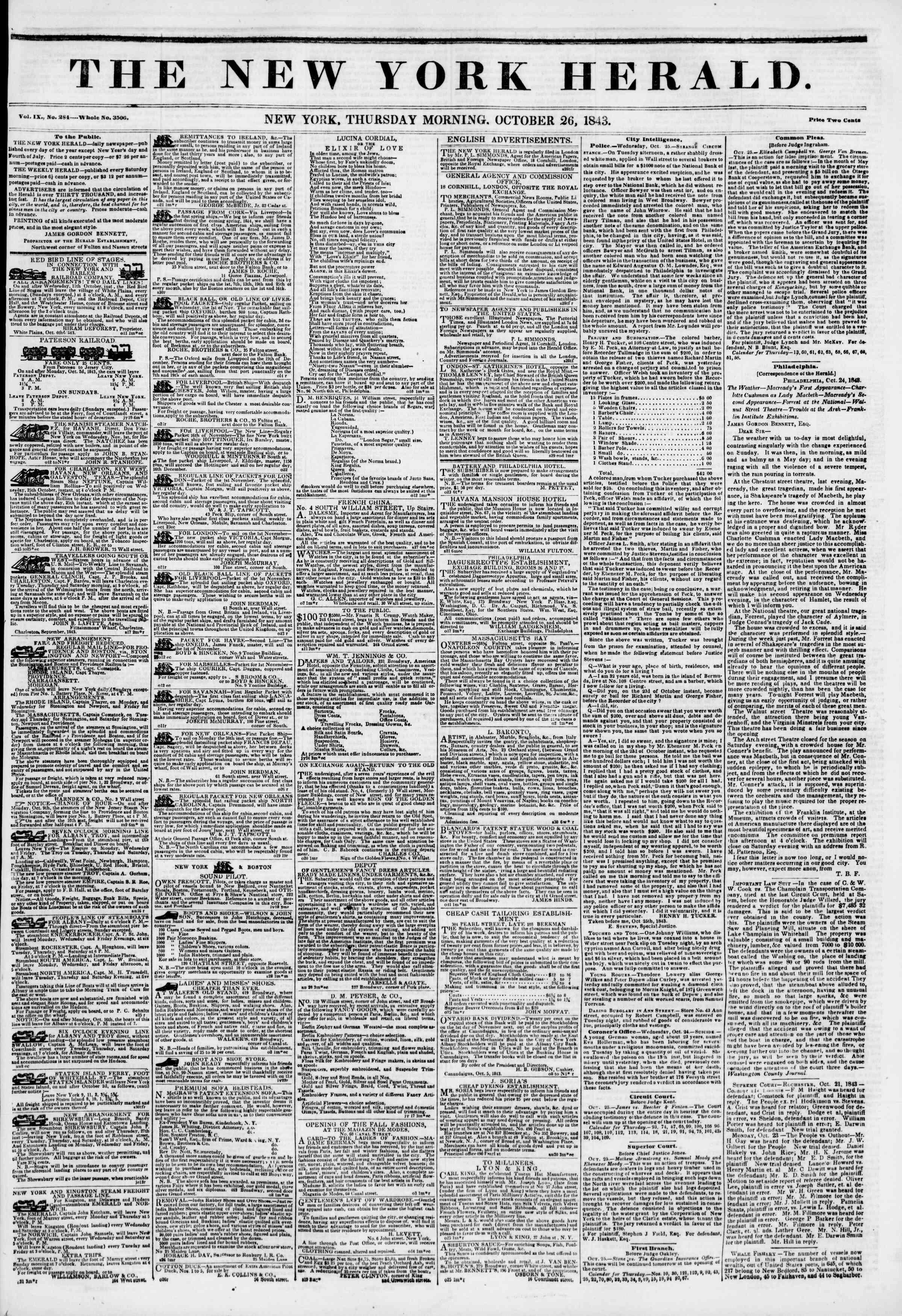 October 26, 1843 Tarihli The New York Herald Gazetesi Sayfa 1