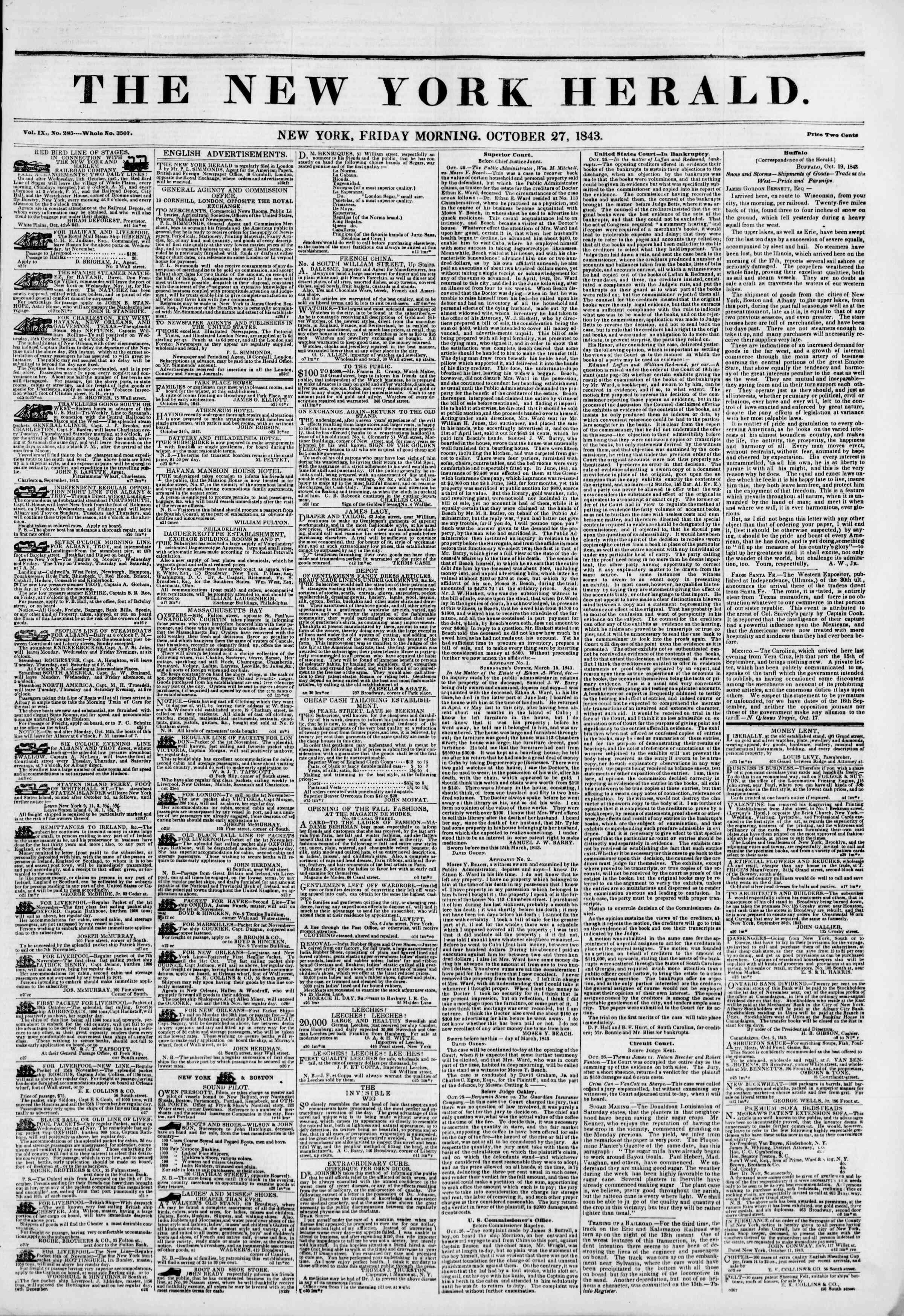 October 27, 1843 Tarihli The New York Herald Gazetesi Sayfa 1