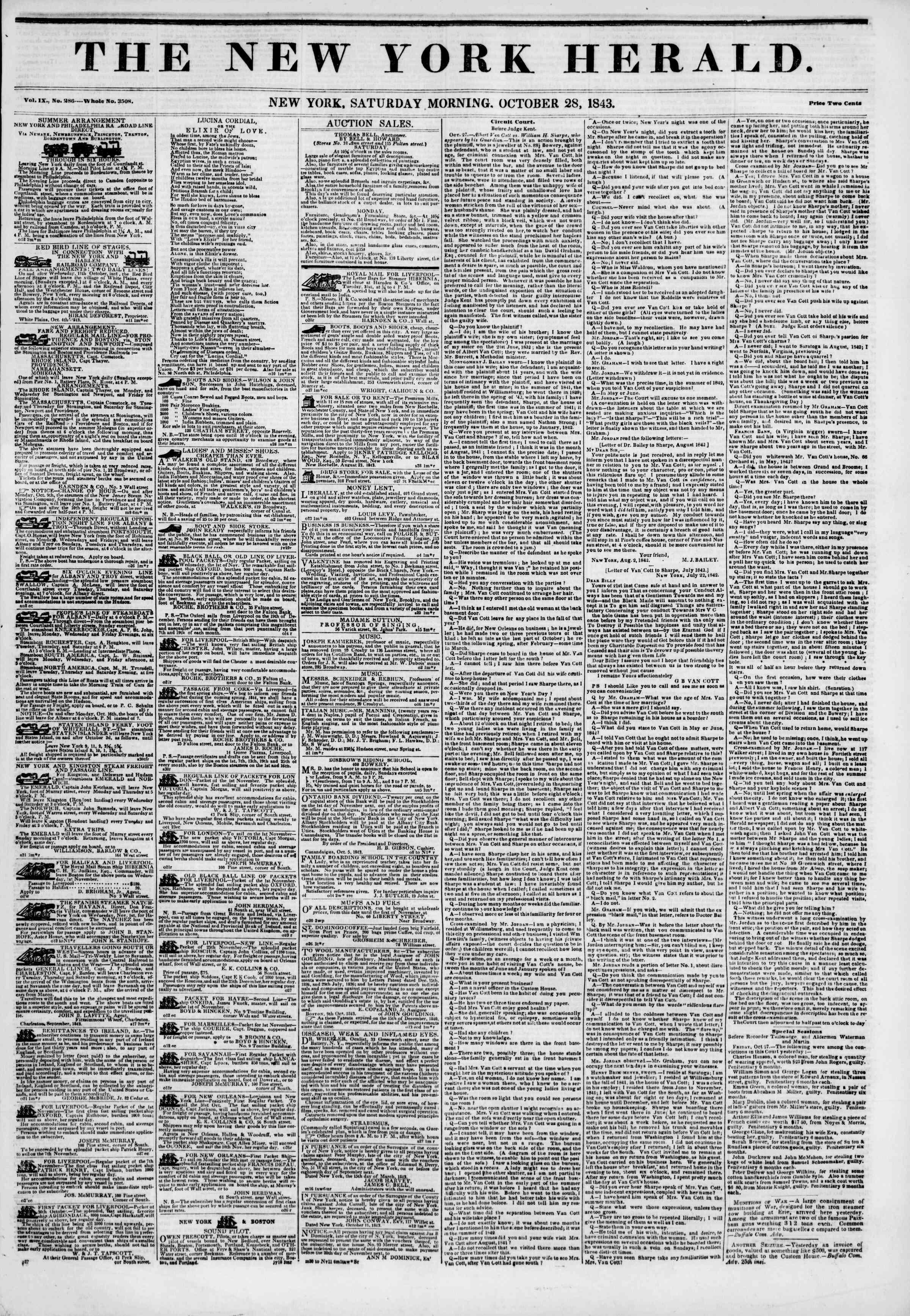October 28, 1843 Tarihli The New York Herald Gazetesi Sayfa 1
