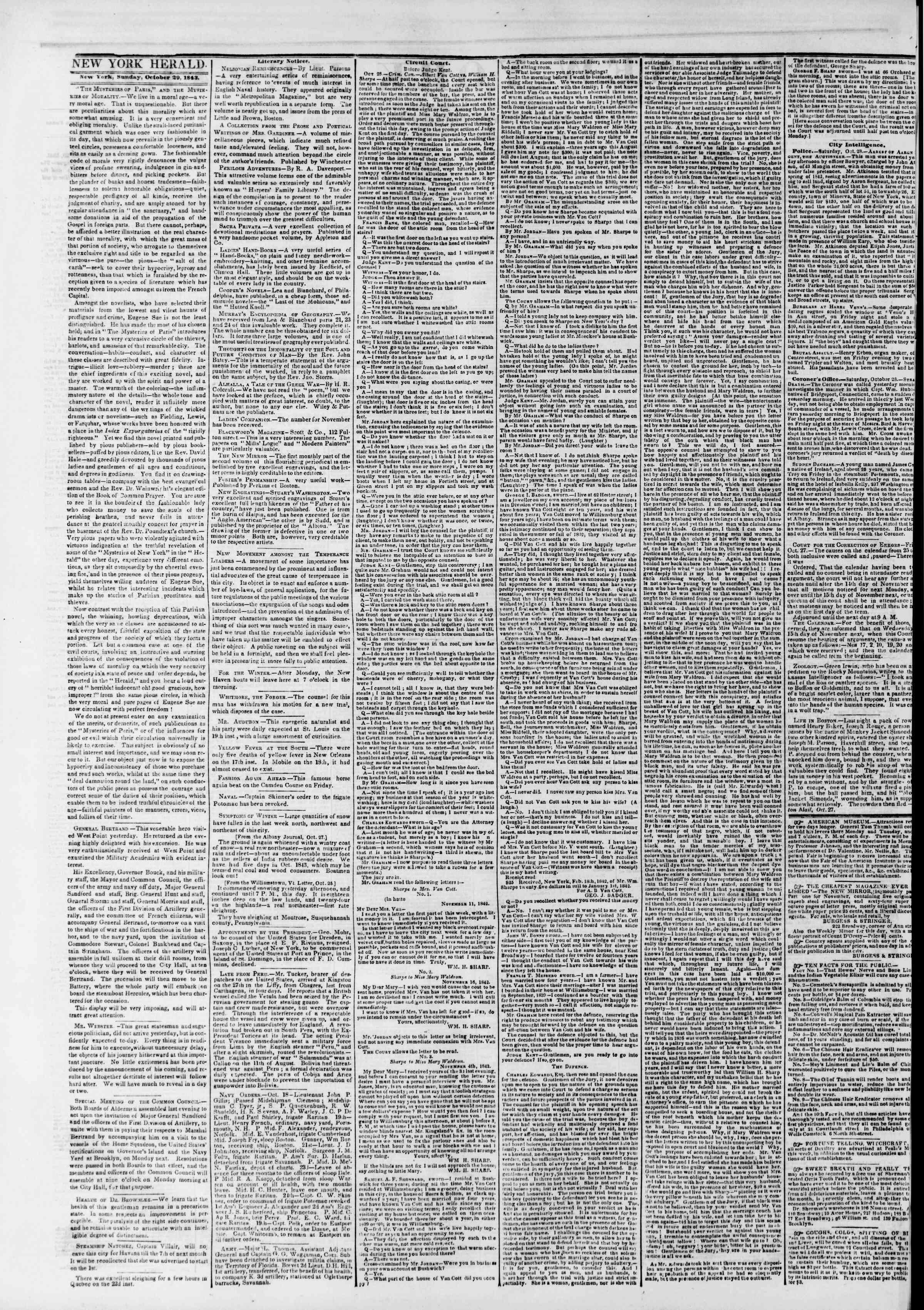 October 29, 1843 Tarihli The New York Herald Gazetesi Sayfa 2