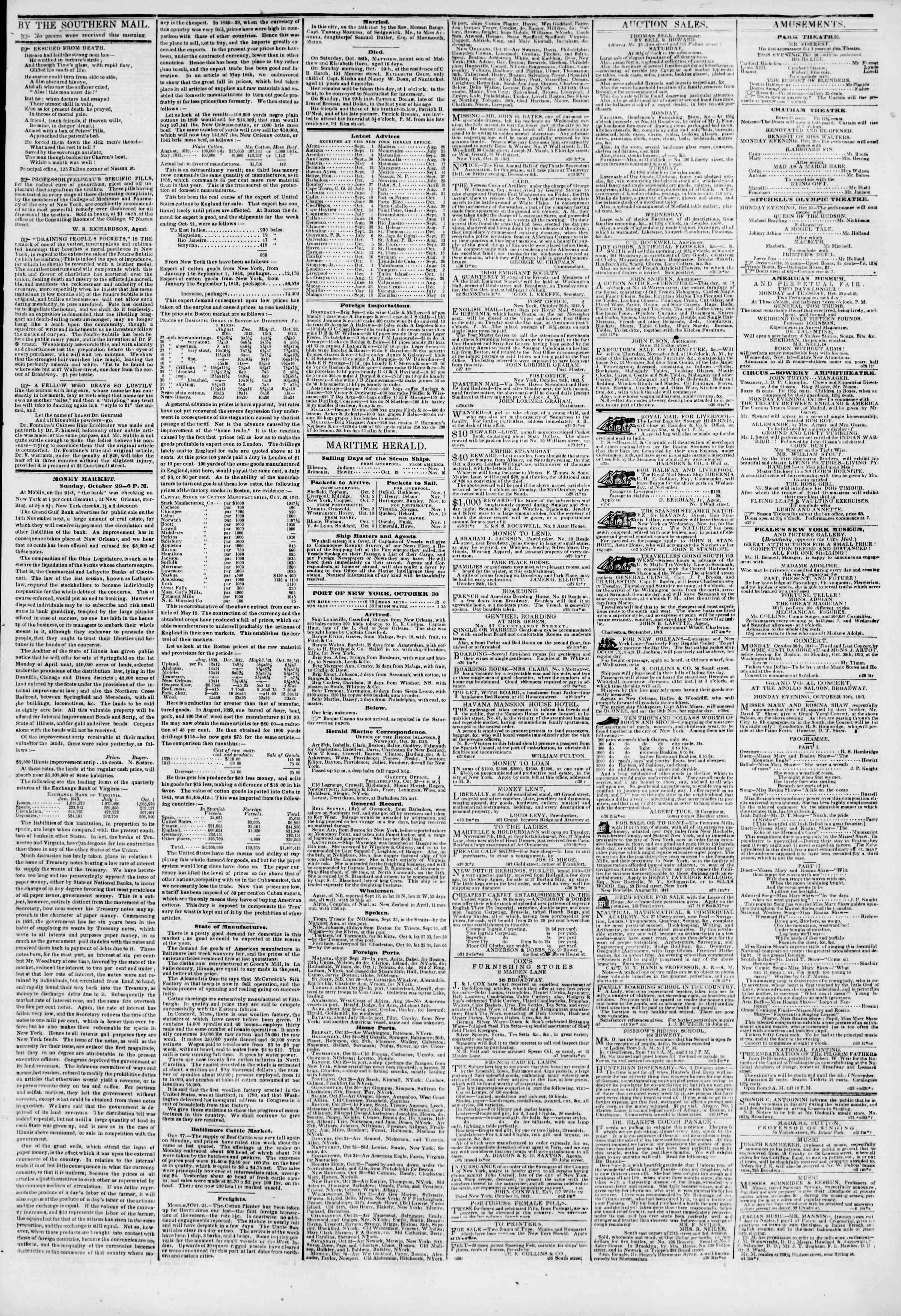 October 30, 1843 Tarihli The New York Herald Gazetesi Sayfa 3