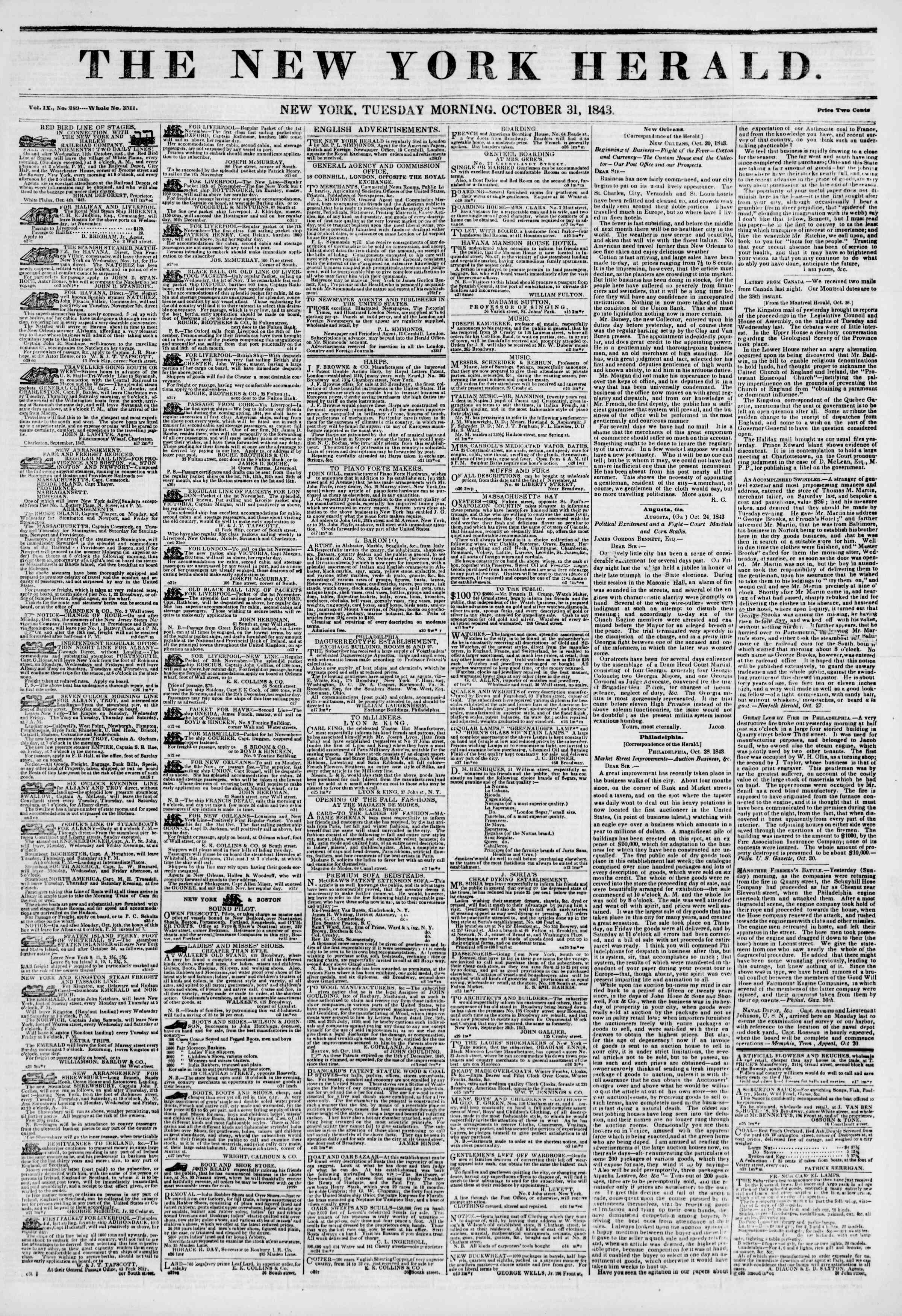 Newspaper of The New York Herald dated October 31, 1843 Page 1