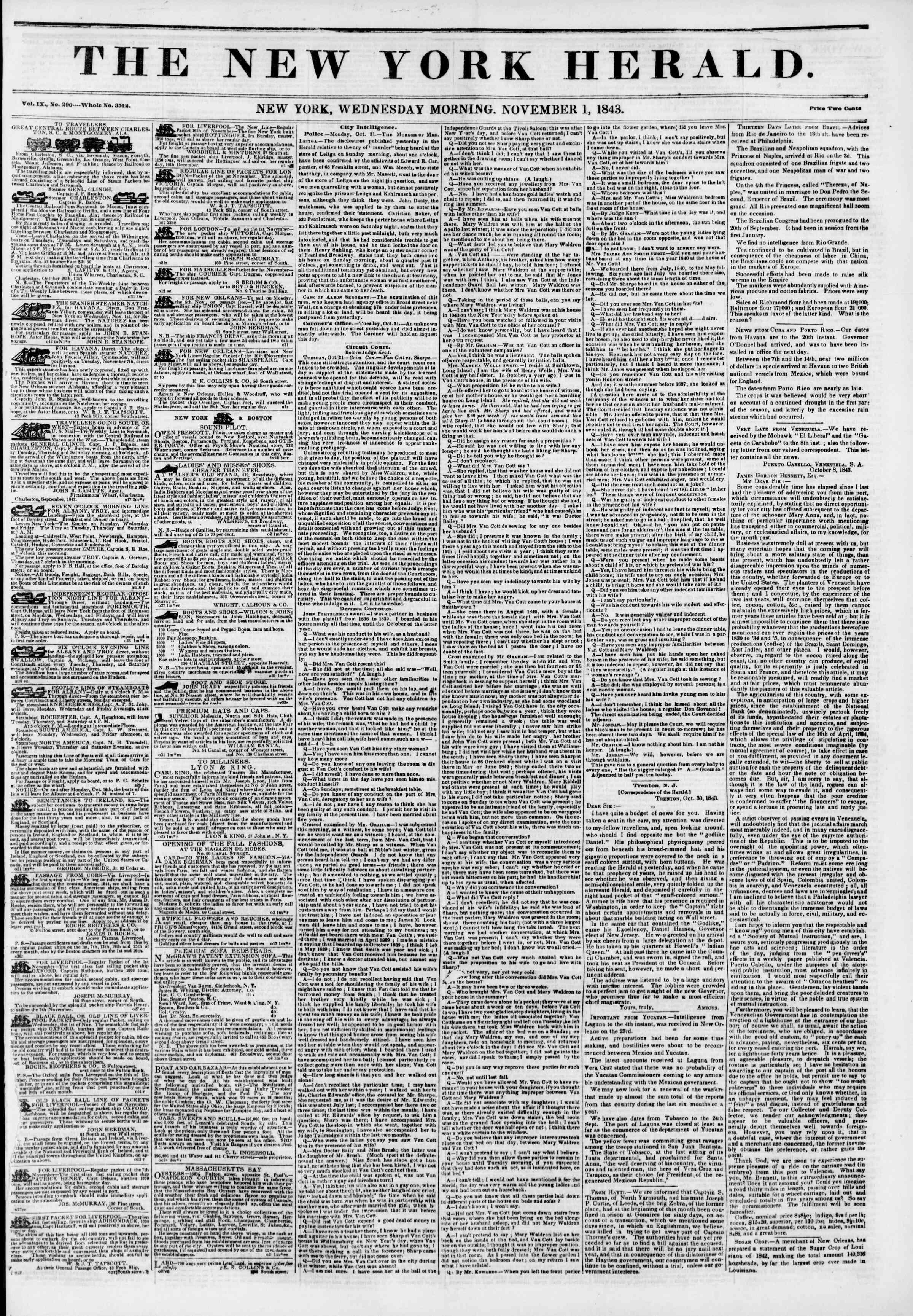 November 1, 1843 Tarihli The New York Herald Gazetesi Sayfa 1