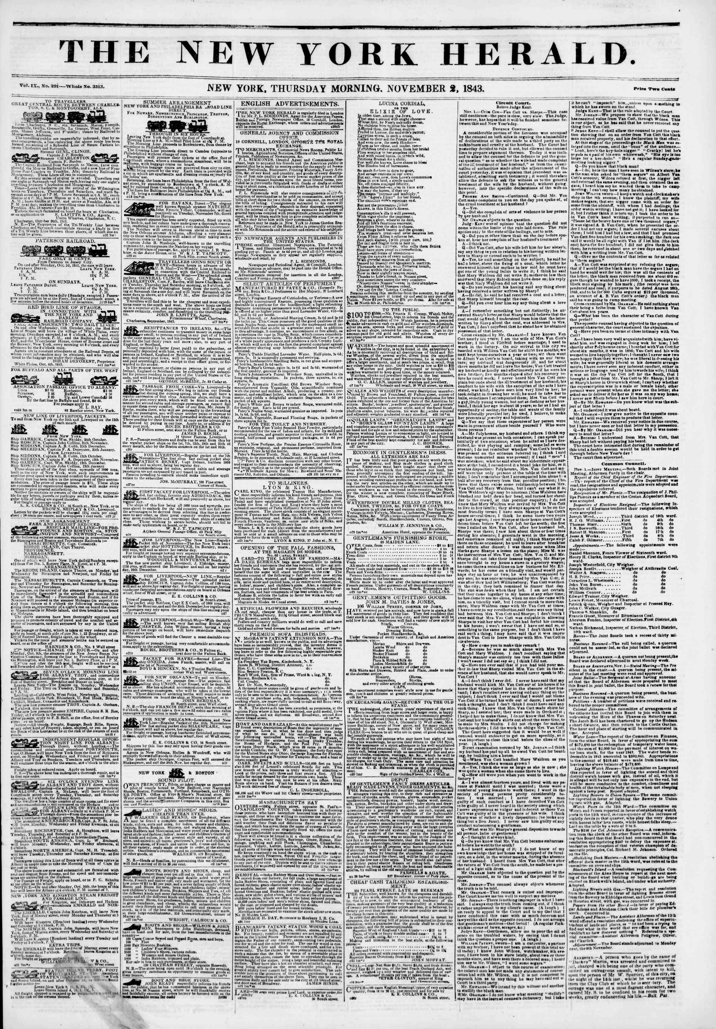 Newspaper of The New York Herald dated November 2, 1843 Page 1