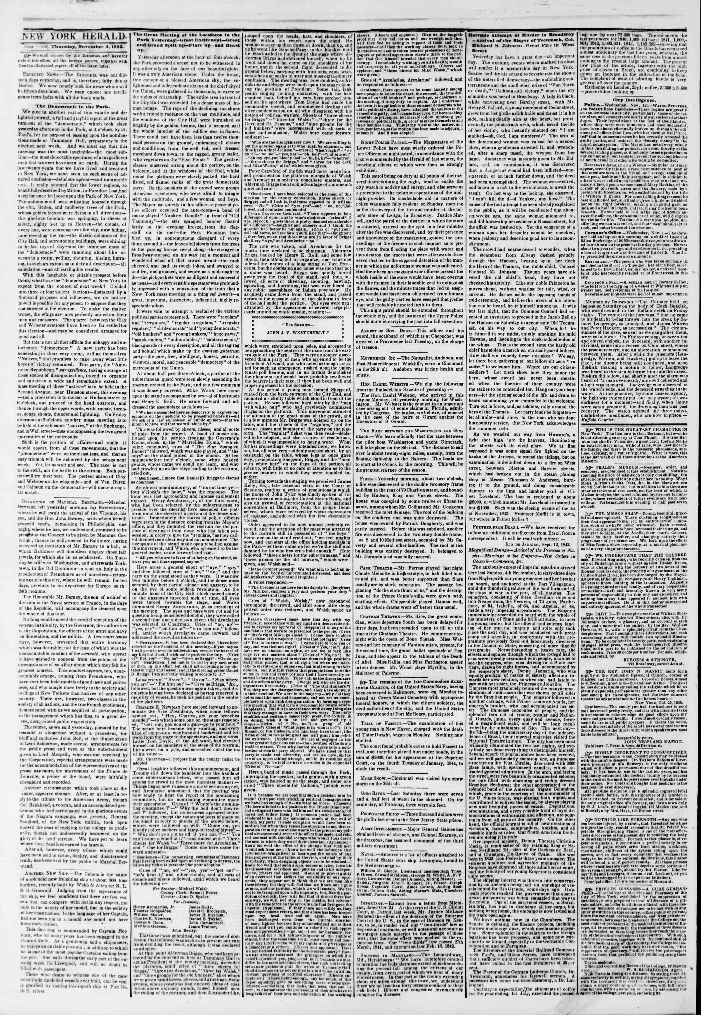 November 2, 1843 Tarihli The New York Herald Gazetesi Sayfa 2