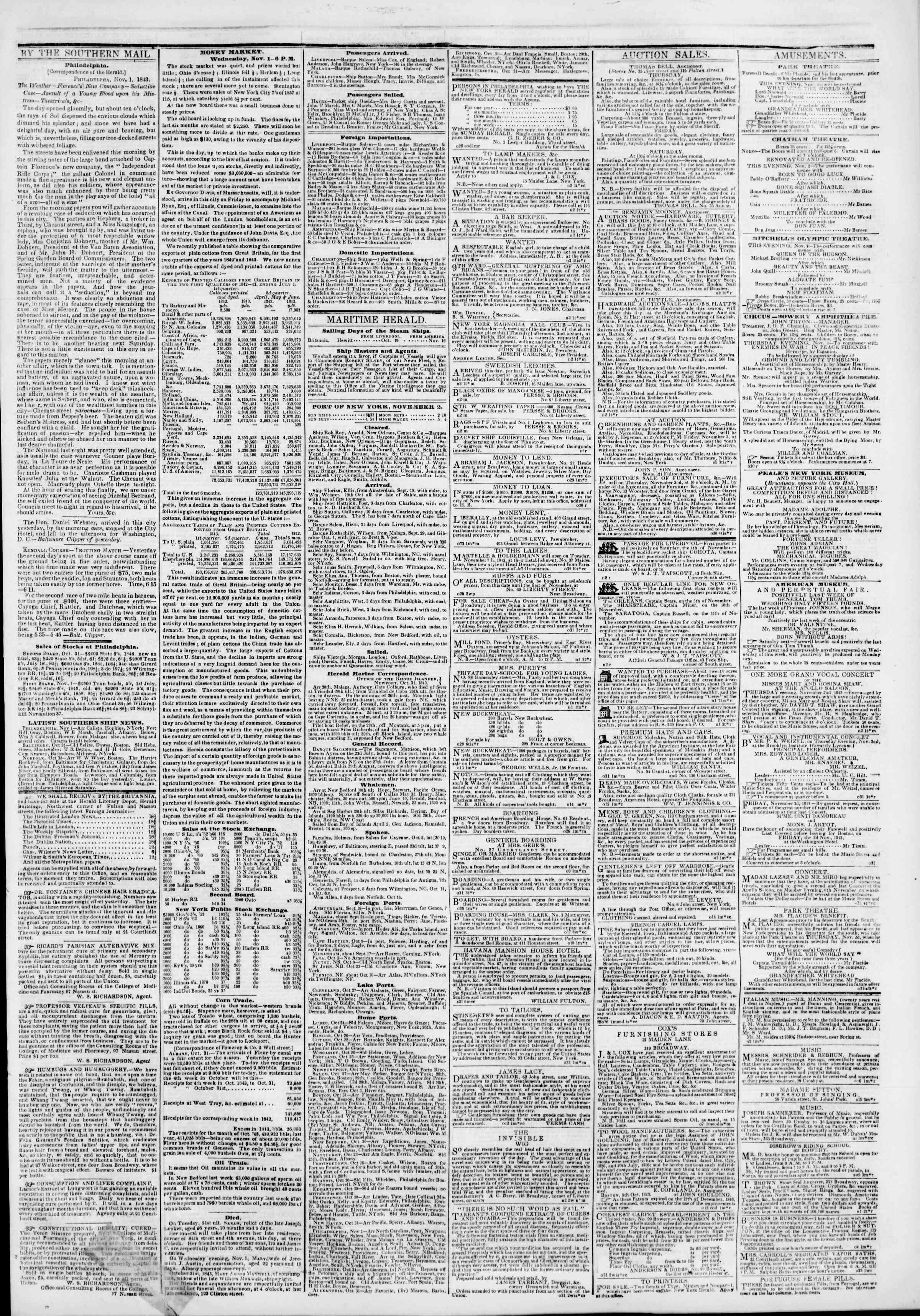 Newspaper of The New York Herald dated November 2, 1843 Page 3