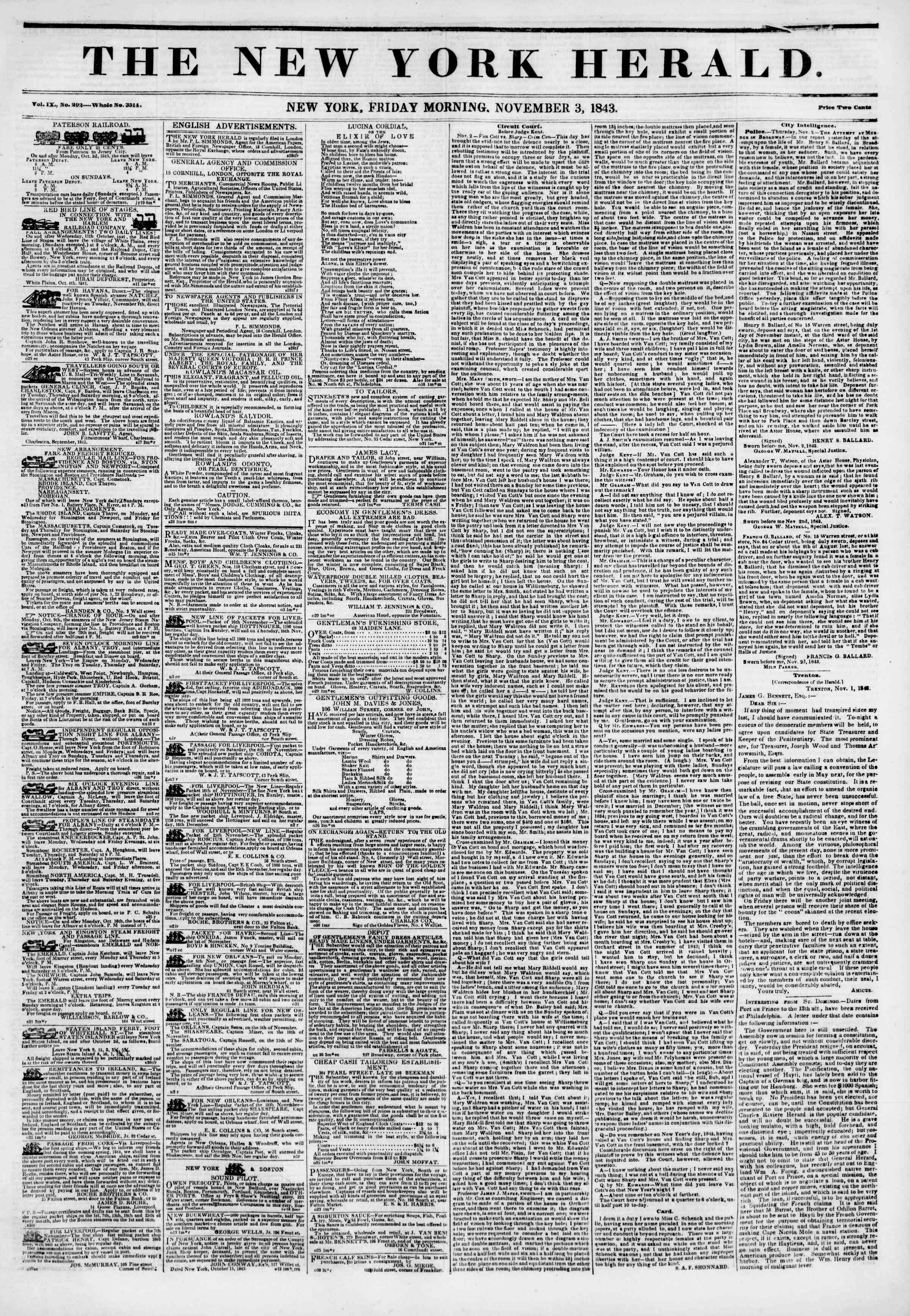 Newspaper of The New York Herald dated November 3, 1843 Page 1