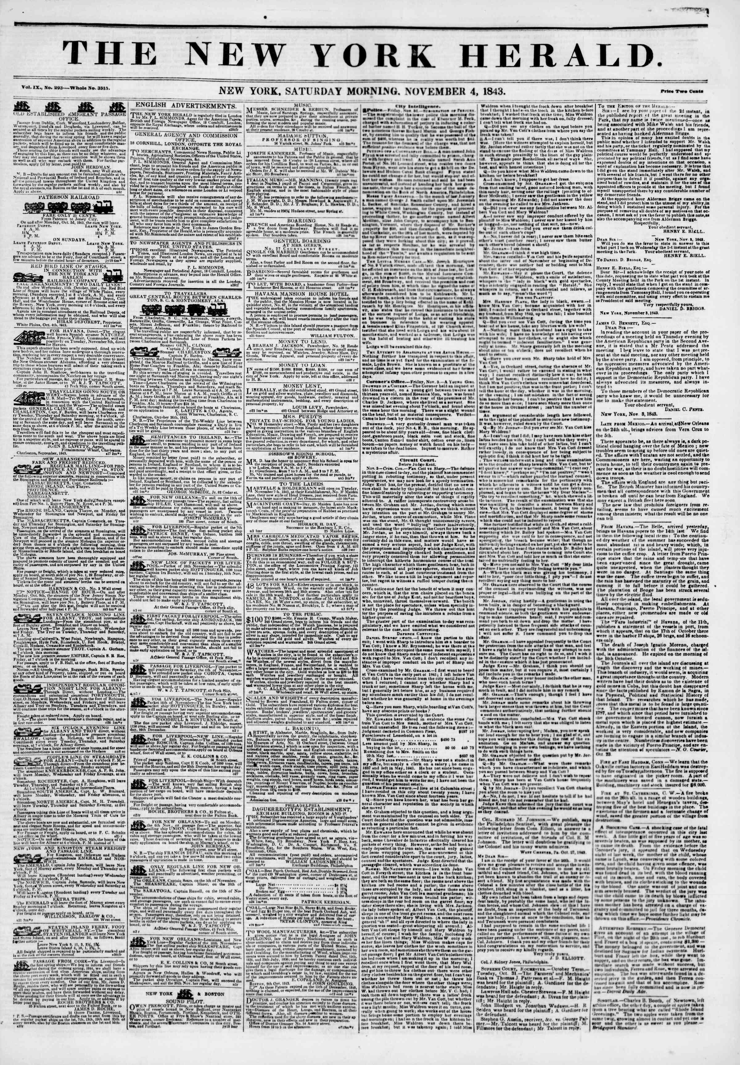November 4, 1843 Tarihli The New York Herald Gazetesi Sayfa 1