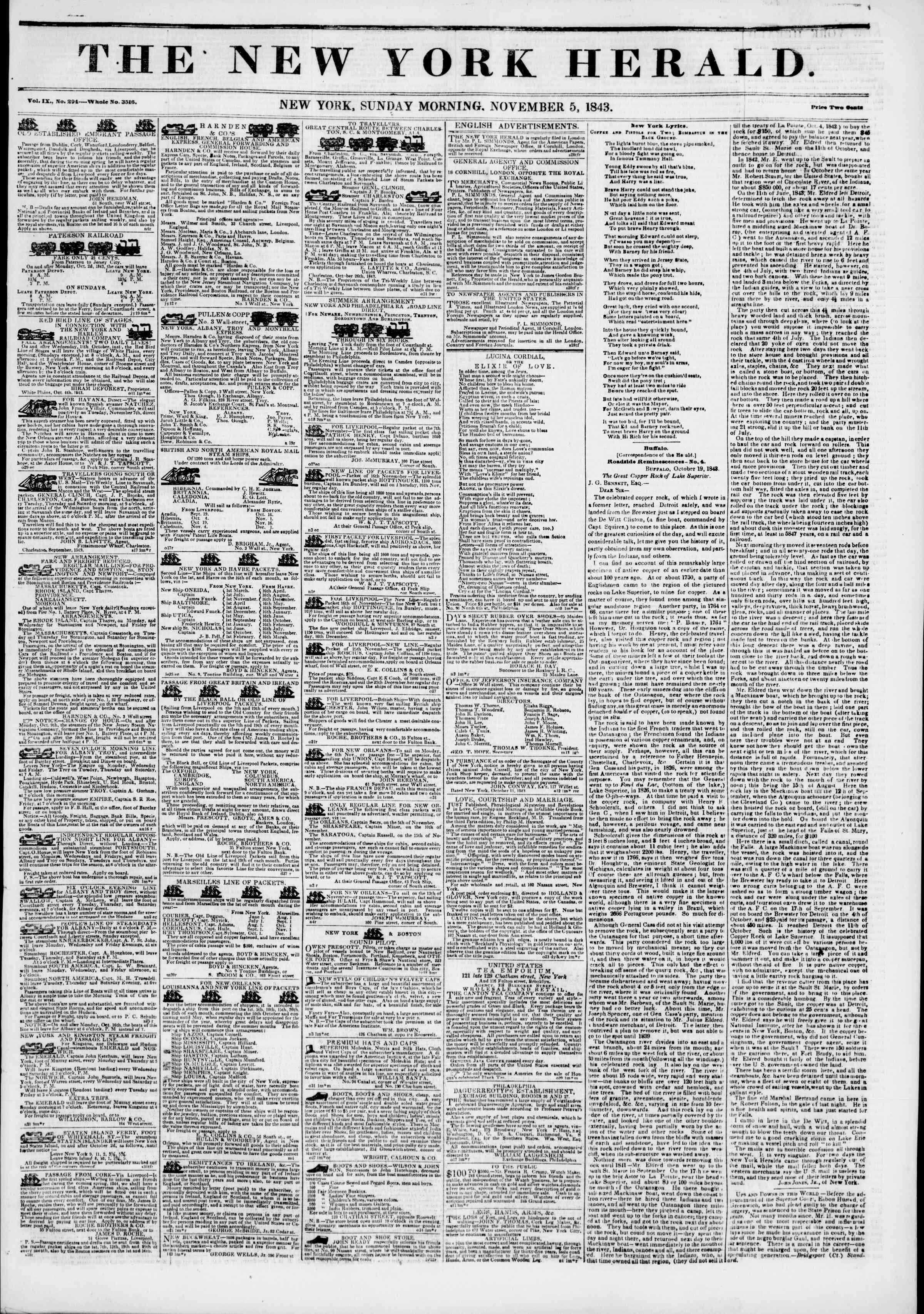 Newspaper of The New York Herald dated November 5, 1843 Page 1