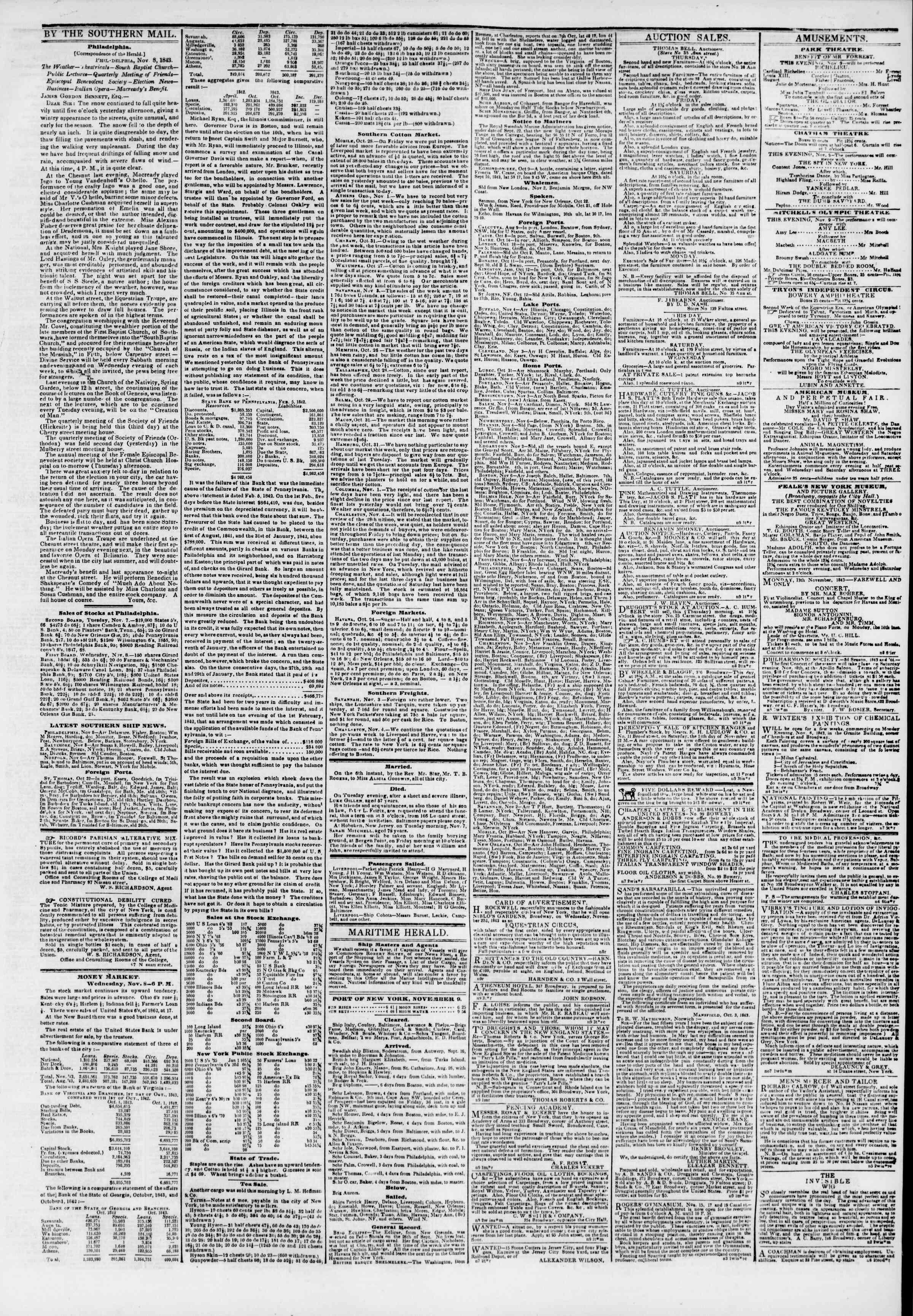 November 9, 1843 Tarihli The New York Herald Gazetesi Sayfa 3