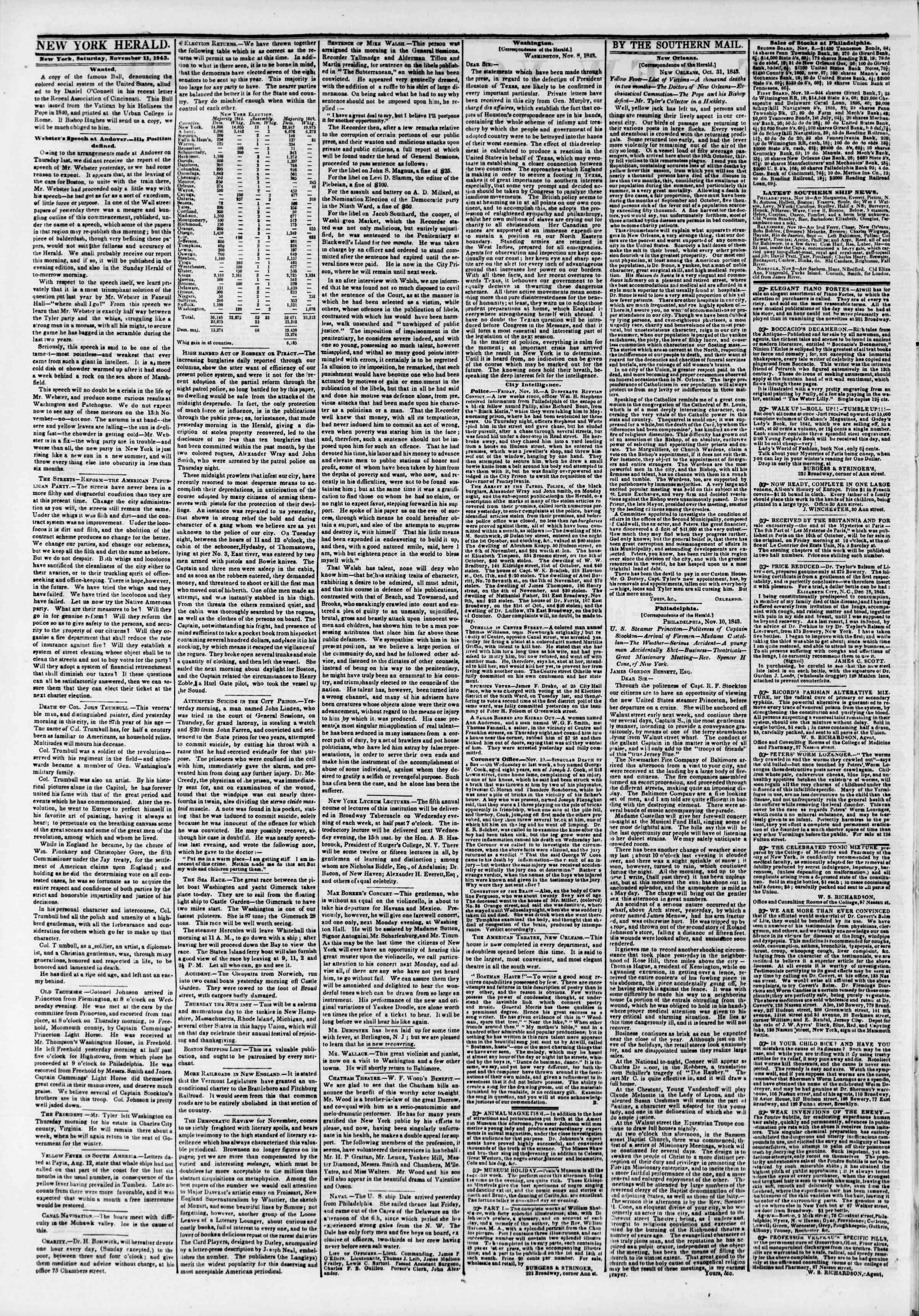 November 11, 1843 Tarihli The New York Herald Gazetesi Sayfa 2