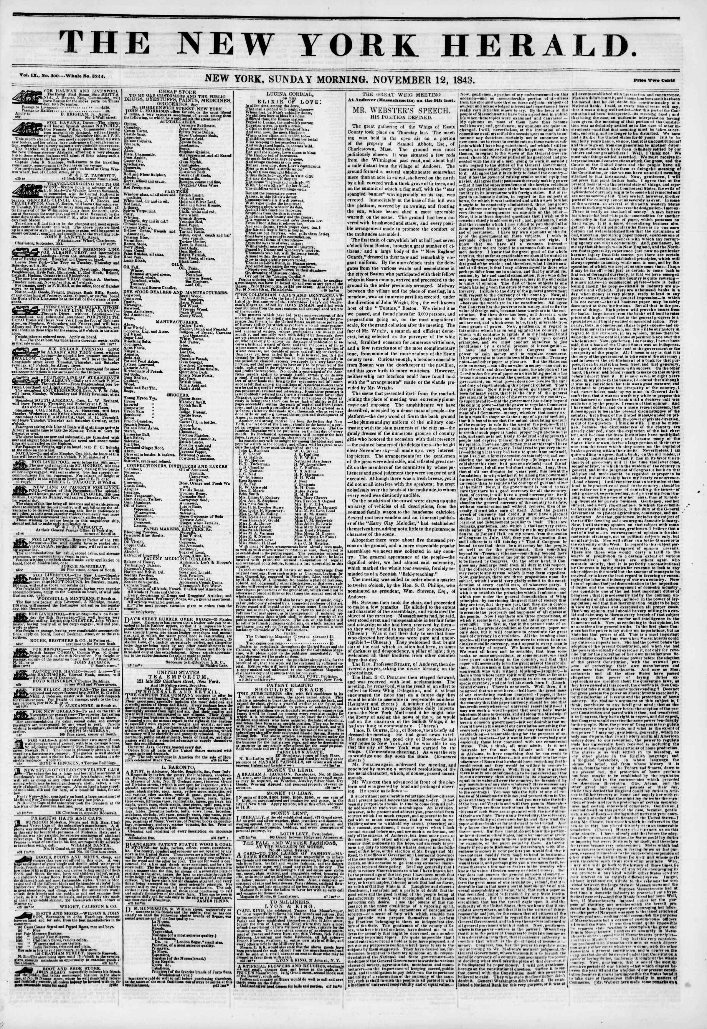Newspaper of The New York Herald dated November 12, 1843 Page 1