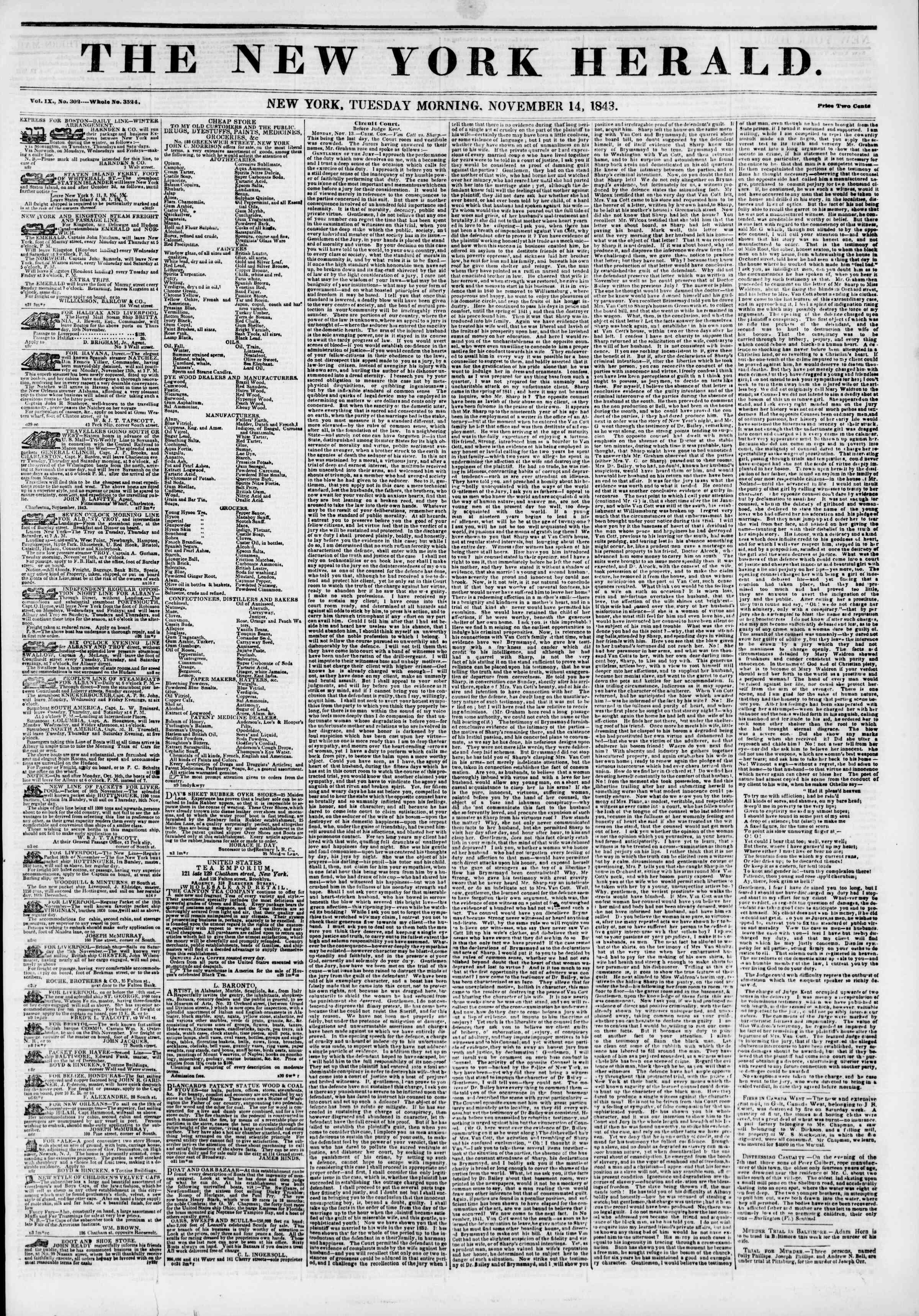 November 14, 1843 Tarihli The New York Herald Gazetesi Sayfa 1