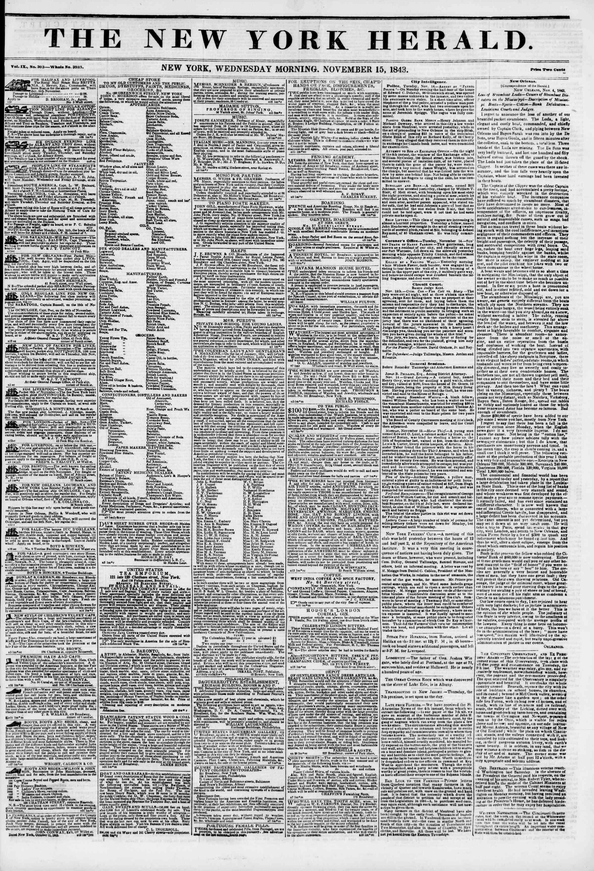 November 15, 1843 Tarihli The New York Herald Gazetesi Sayfa 1
