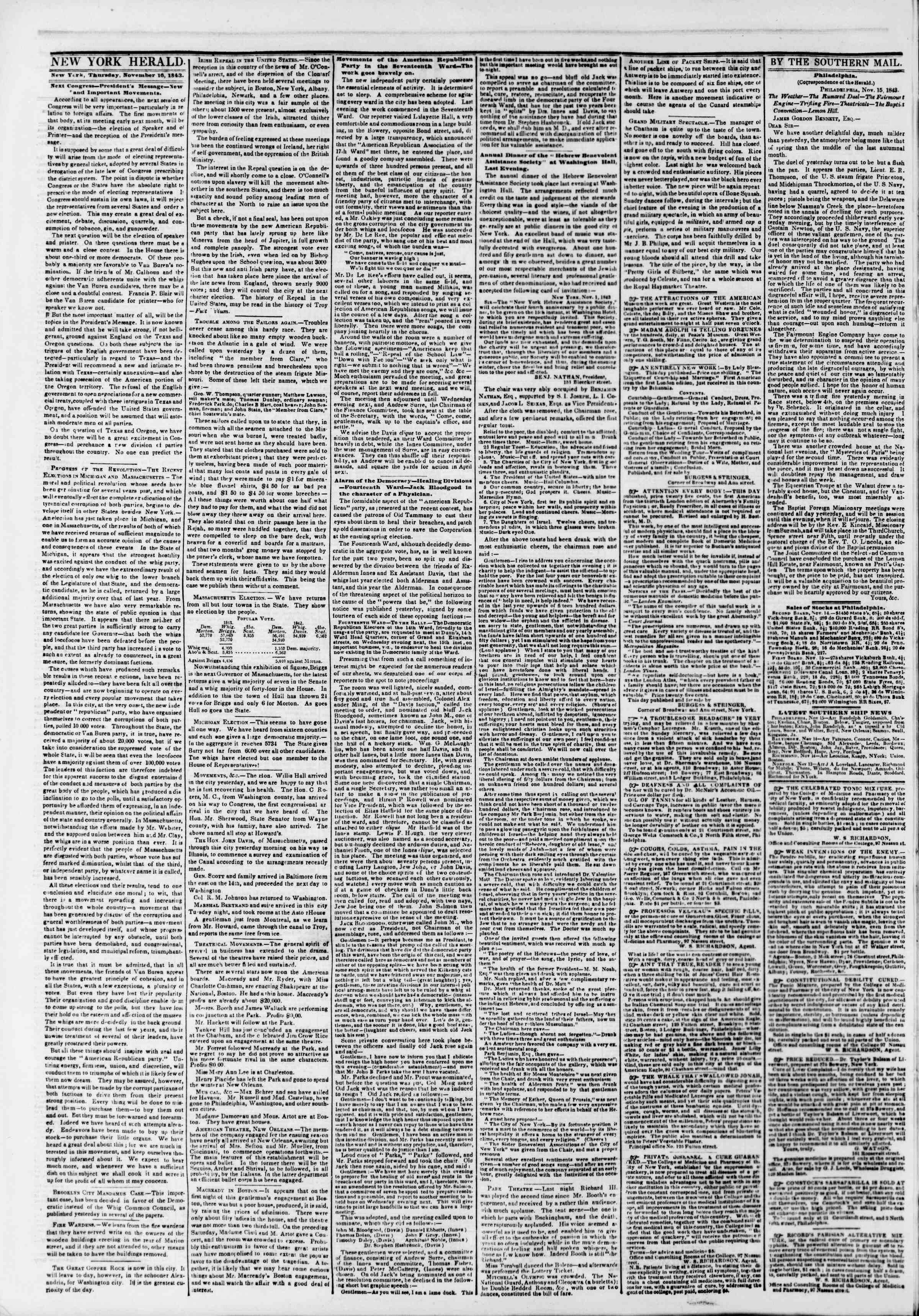 November 16, 1843 Tarihli The New York Herald Gazetesi Sayfa 2