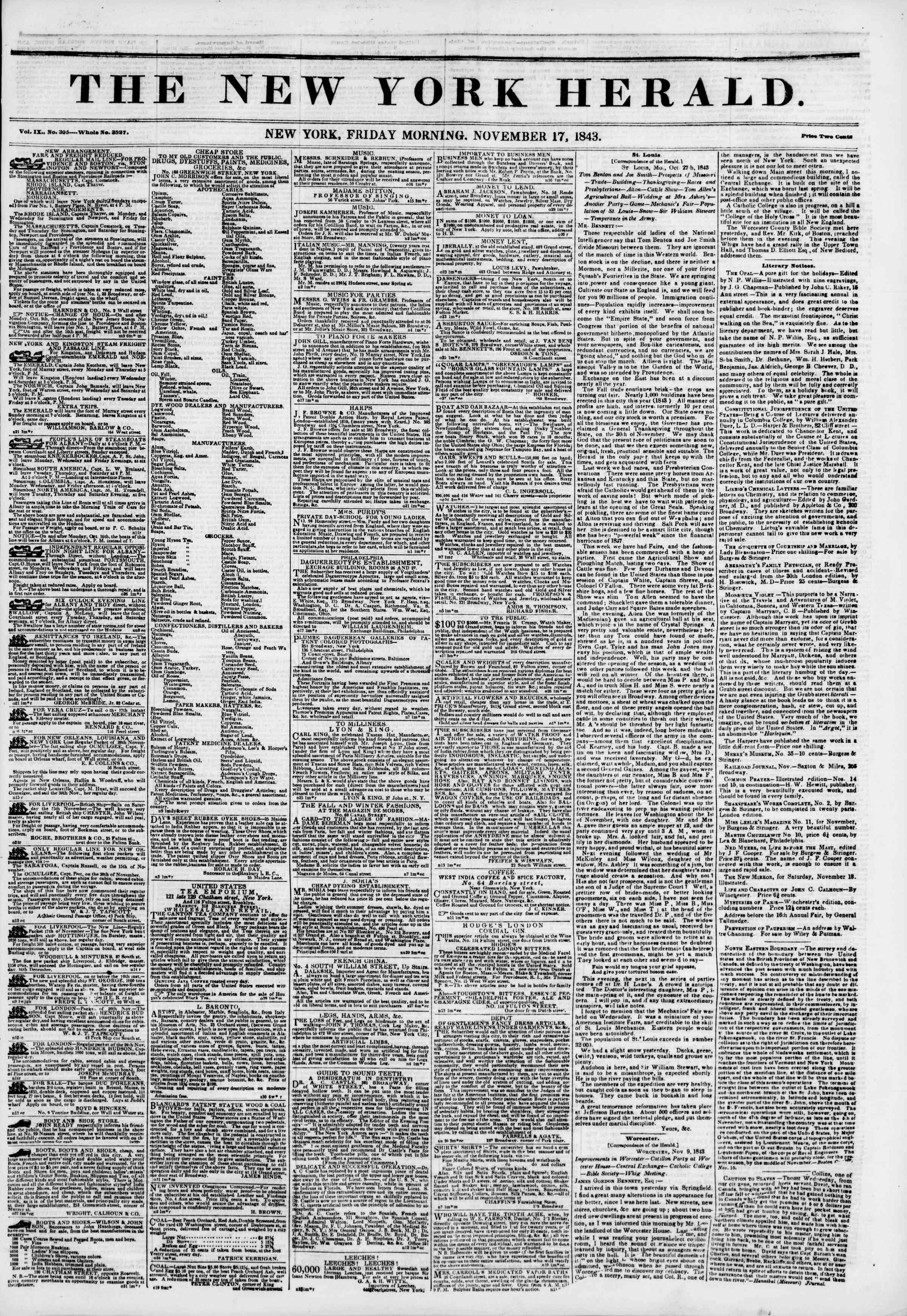 November 17, 1843 Tarihli The New York Herald Gazetesi Sayfa 1