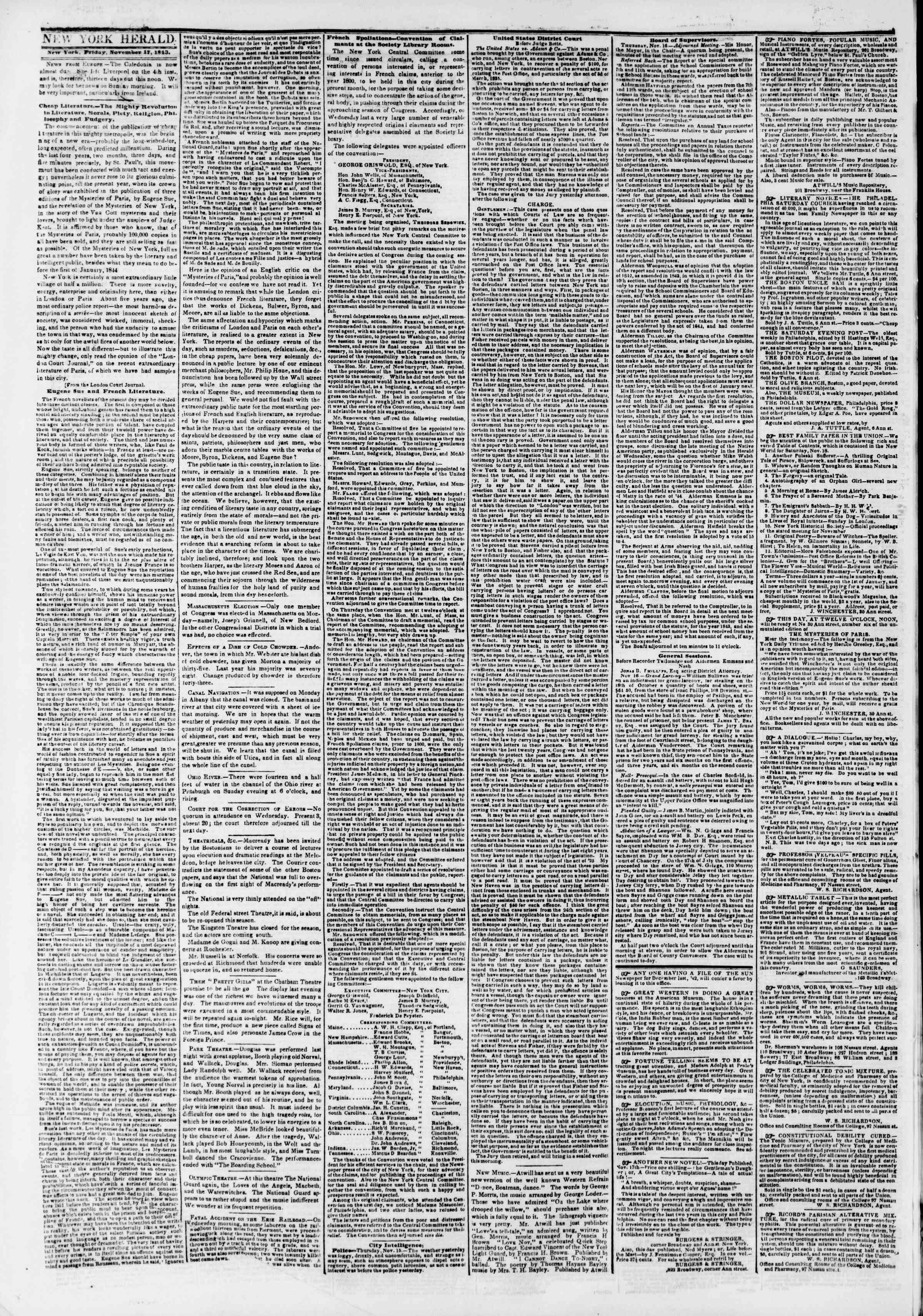 November 17, 1843 Tarihli The New York Herald Gazetesi Sayfa 2