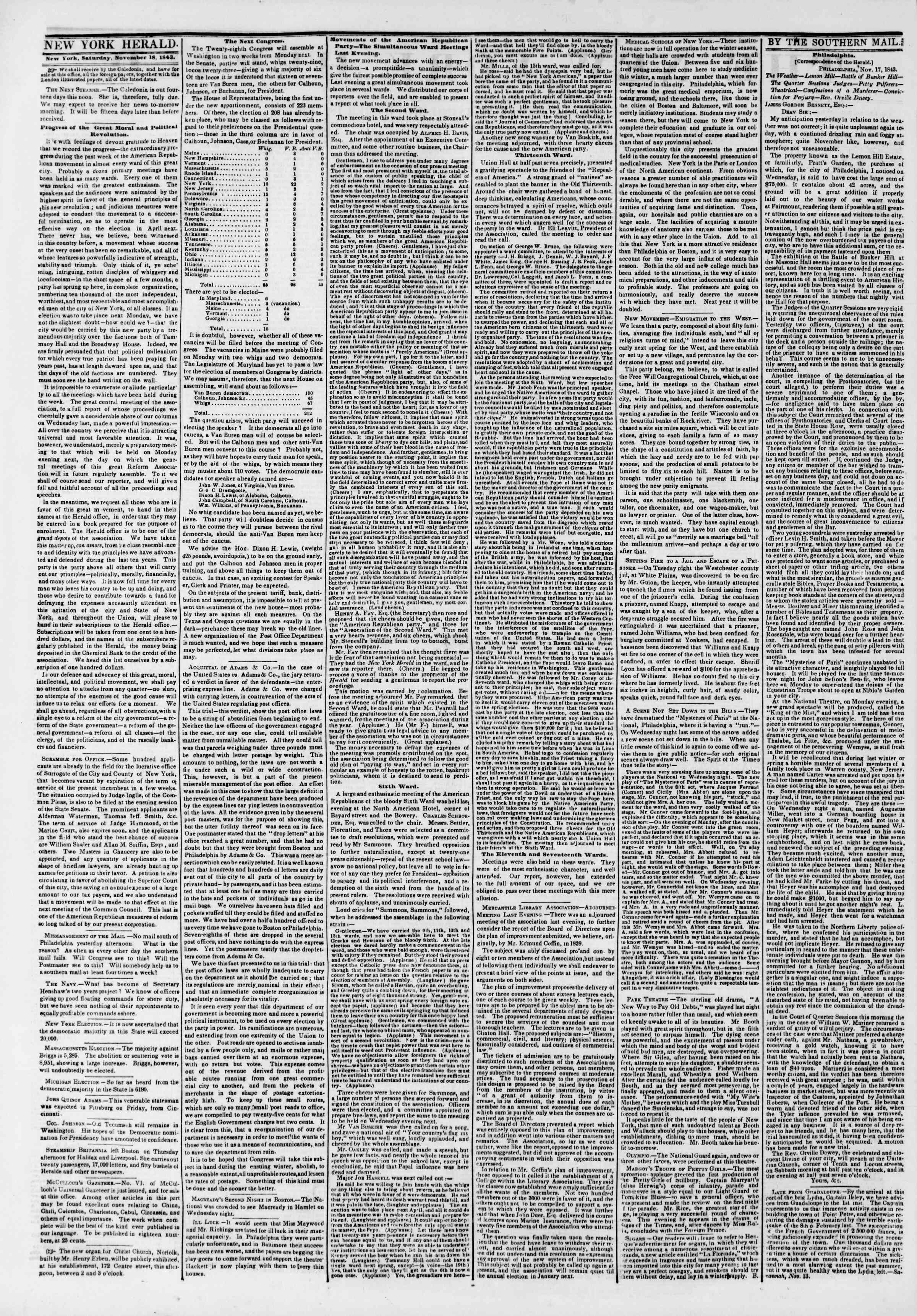 Newspaper of The New York Herald dated November 18, 1843 Page 2