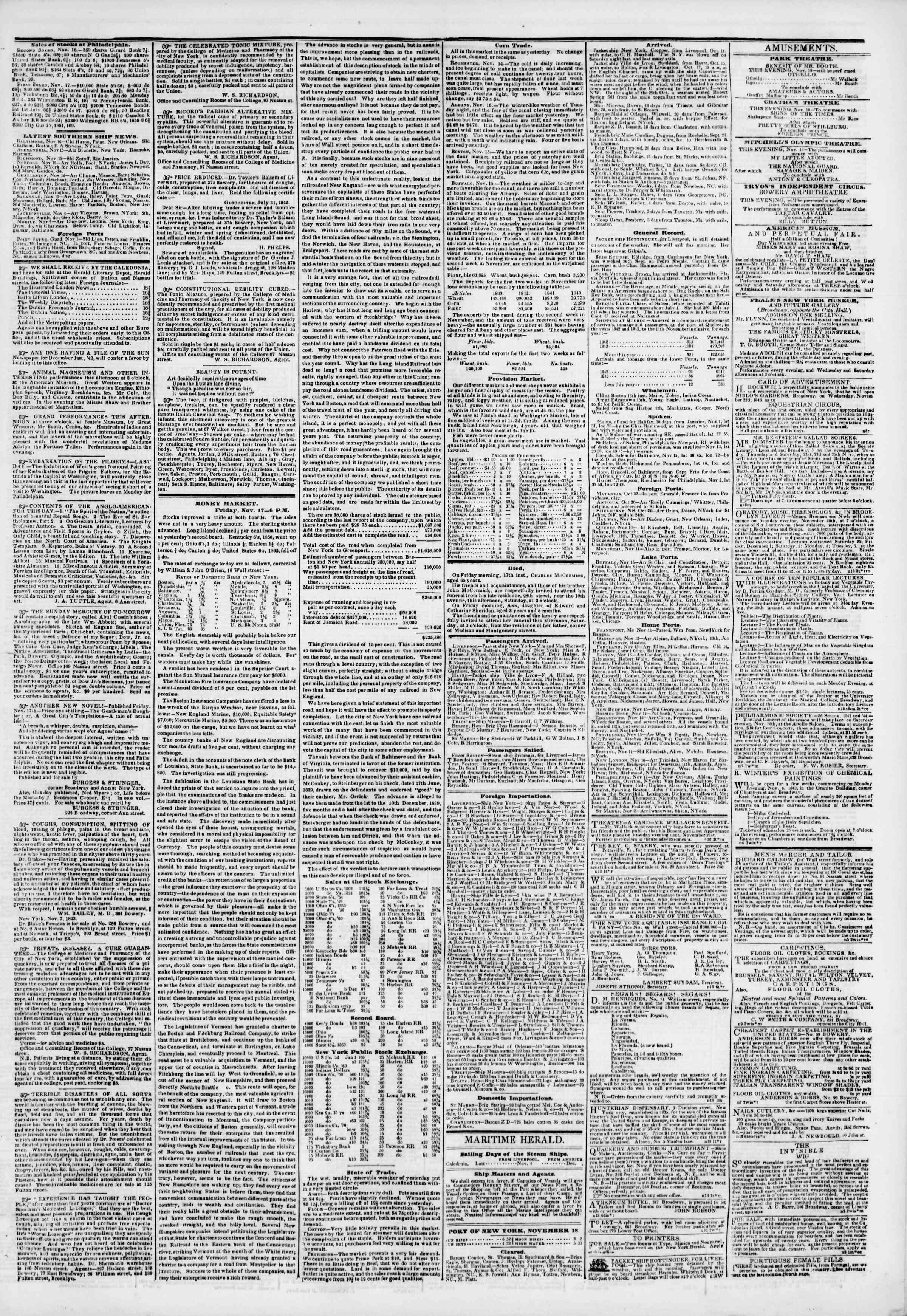 November 18, 1843 Tarihli The New York Herald Gazetesi Sayfa 3