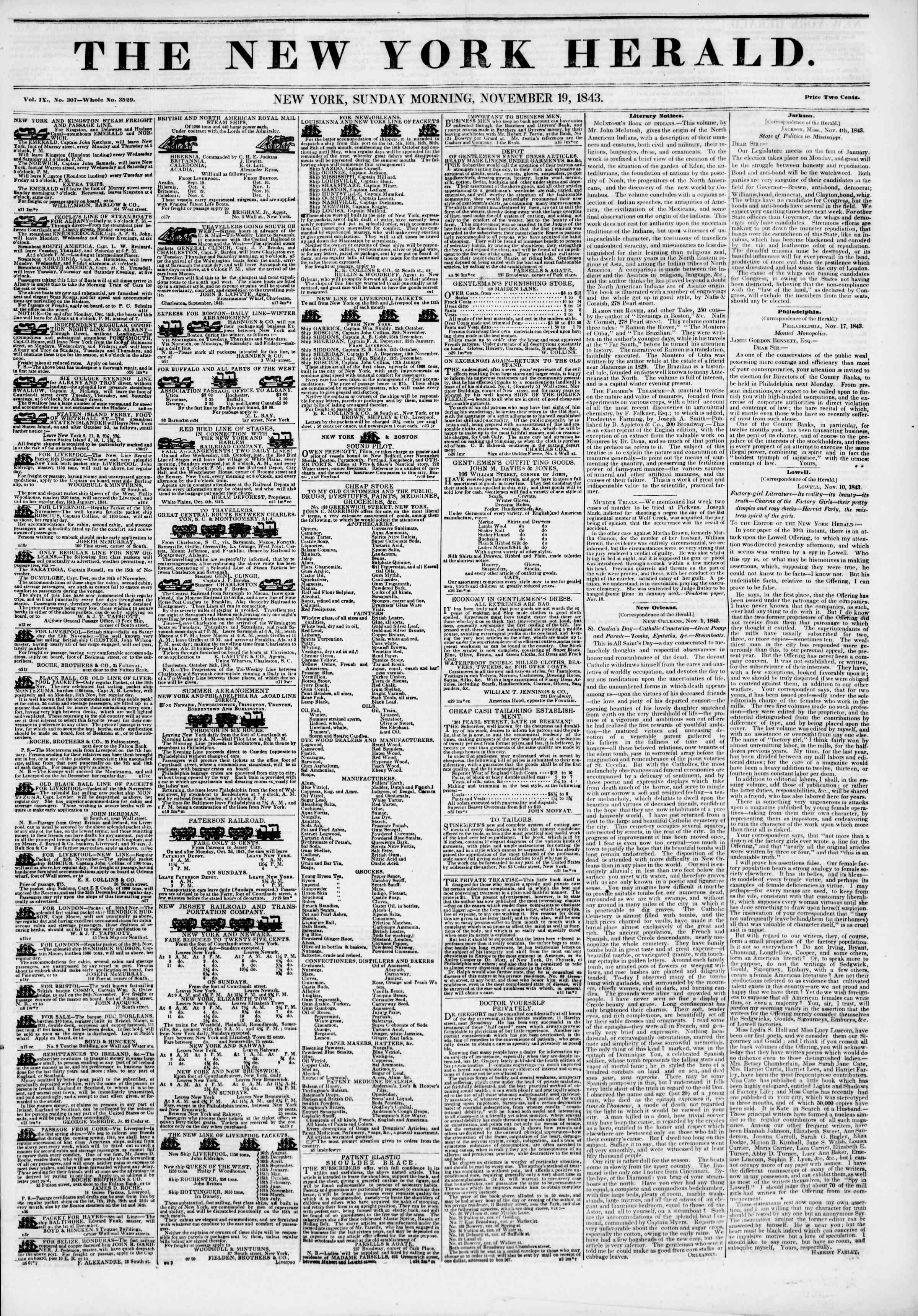 Newspaper of The New York Herald dated November 19, 1843 Page 1