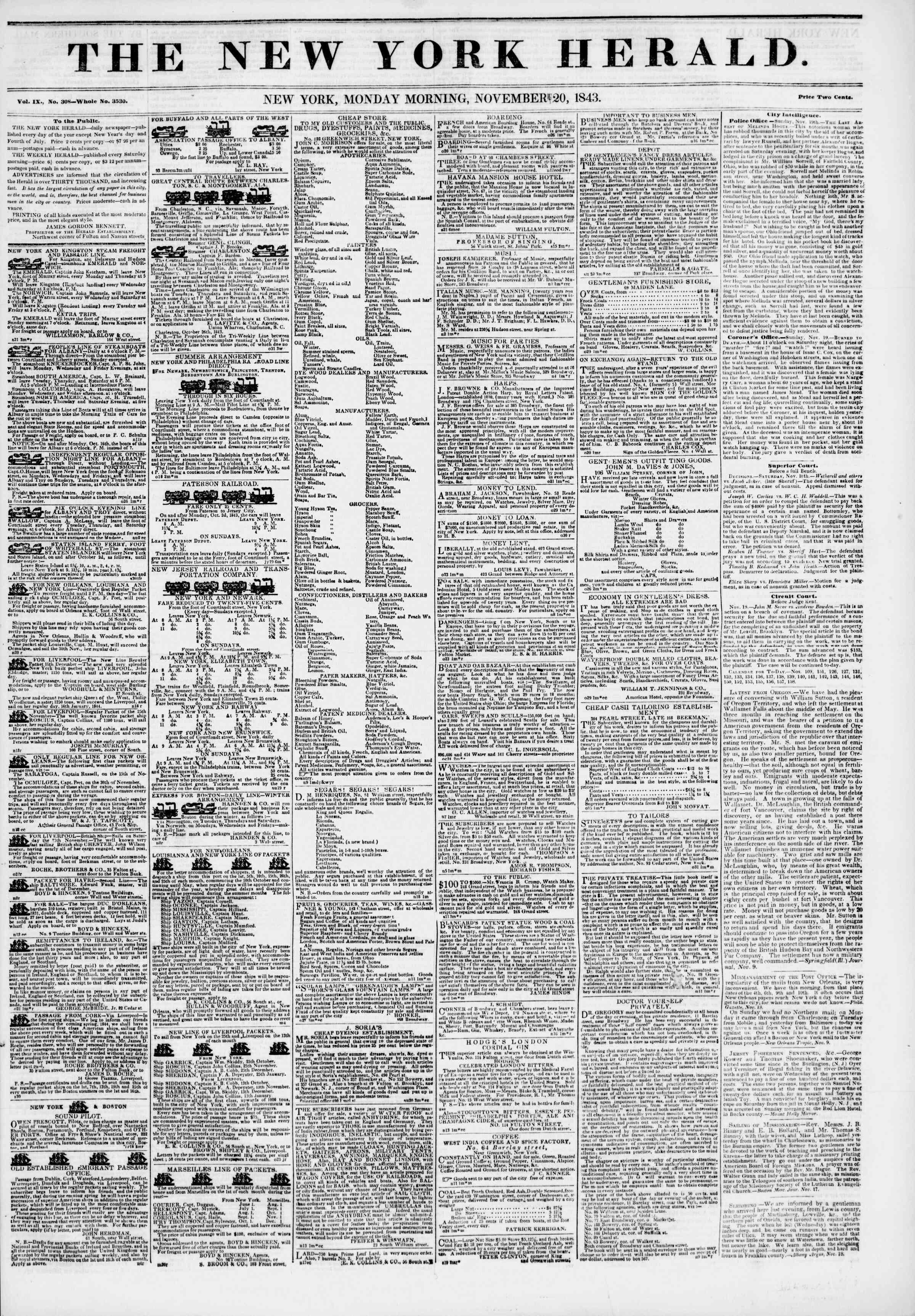 November 20, 1843 Tarihli The New York Herald Gazetesi Sayfa 1