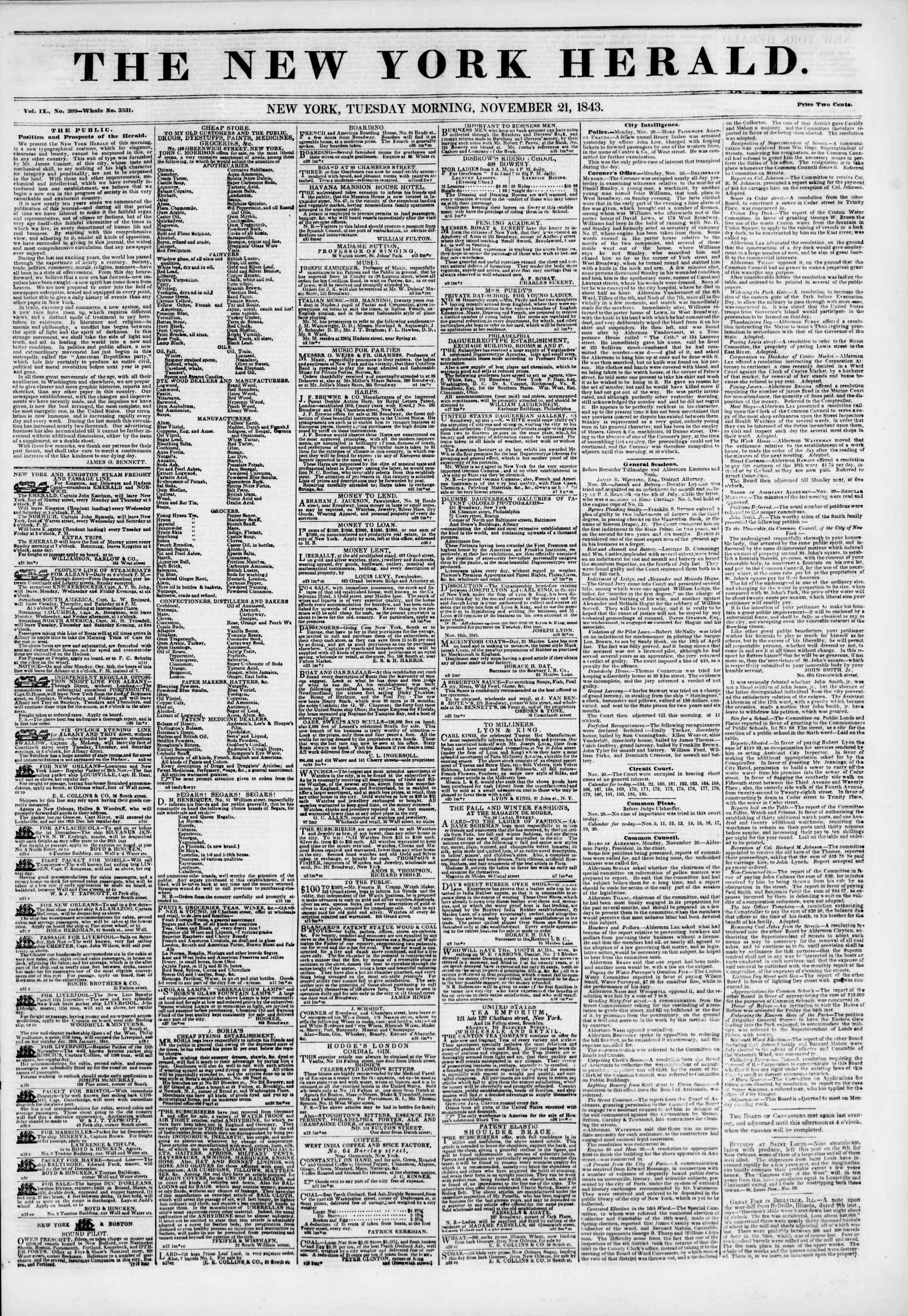Newspaper of The New York Herald dated November 21, 1843 Page 1