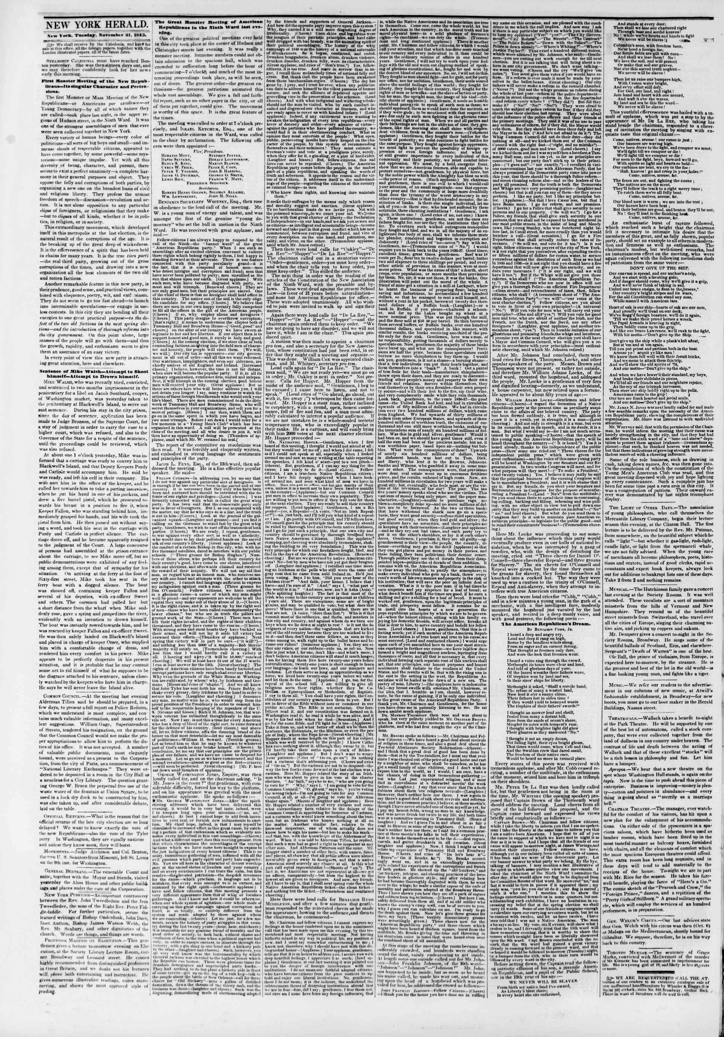 November 21, 1843 Tarihli The New York Herald Gazetesi Sayfa 2