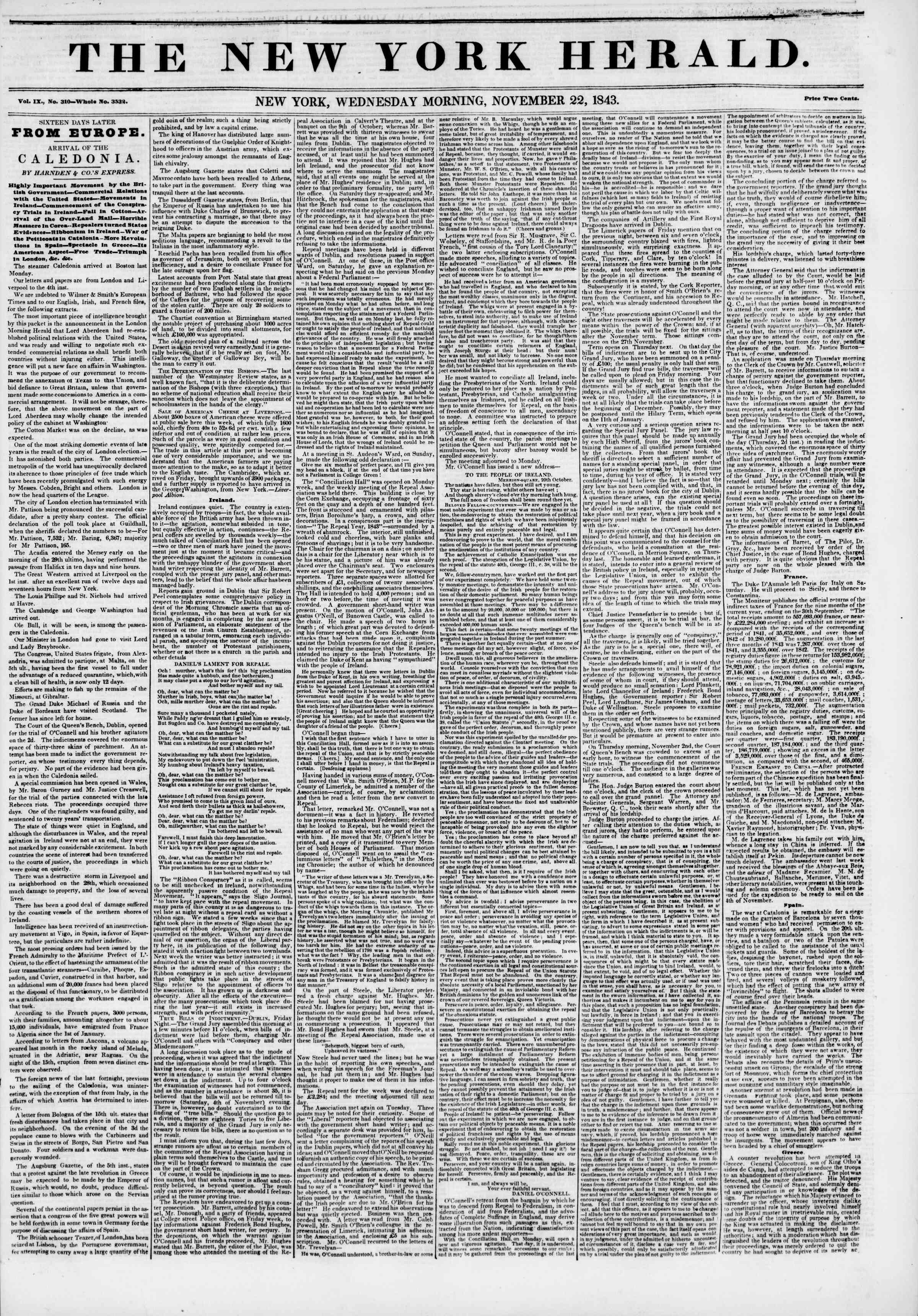 November 22, 1843 Tarihli The New York Herald Gazetesi Sayfa 1